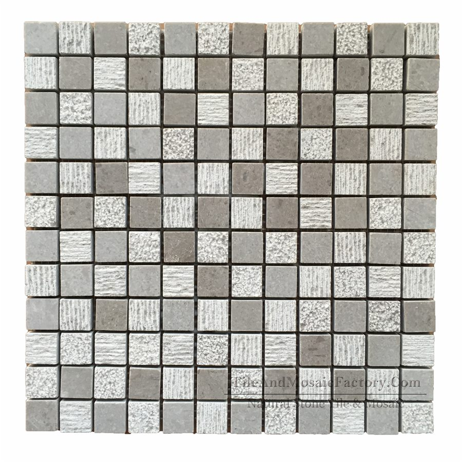 "Starlight  Square 1x1"" Multi finish Grey color Limestone Mosaic"