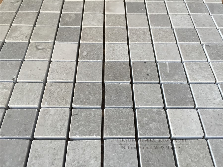 Starlight Square Polished Grey Limestone Mosaic