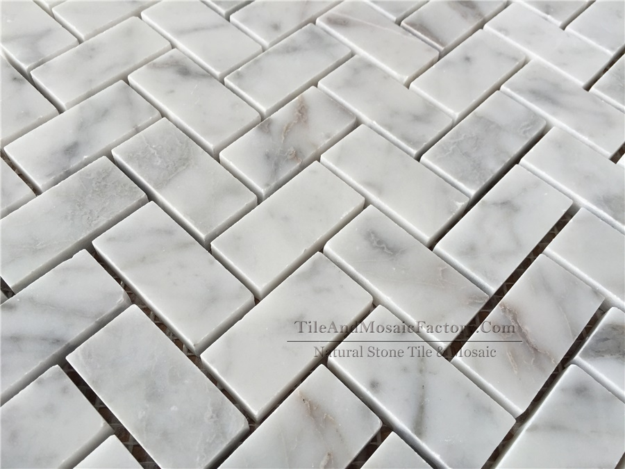 Bianco Carrara Herringbone 1x2″ Polished White Marble Mosaic