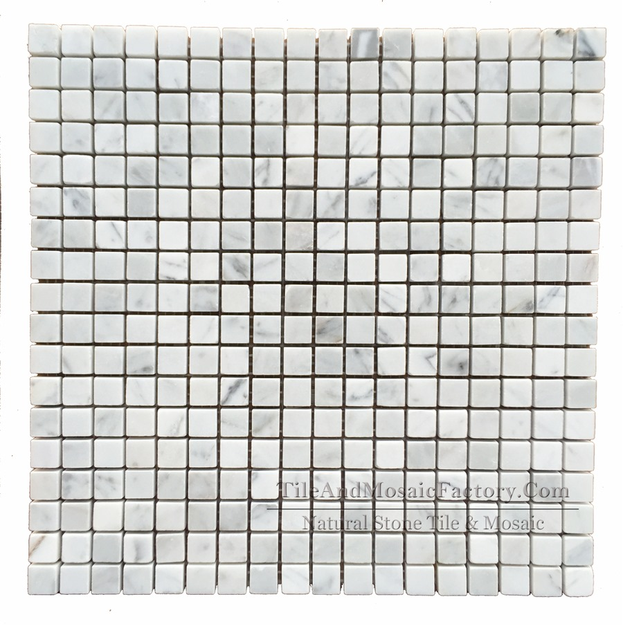 Bianco Carrara Square 5/8x5/8″ Polished White Marble Mosaic