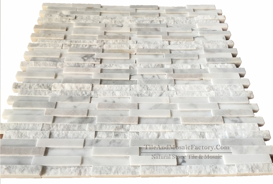 Bianco Carrara 5x1cm Honed and Natural Split White Marble Mosaic