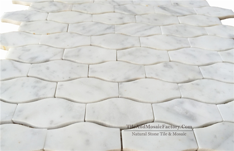 Bianco Carrara Waviness 1x2″ Polished White Marble Mosaic