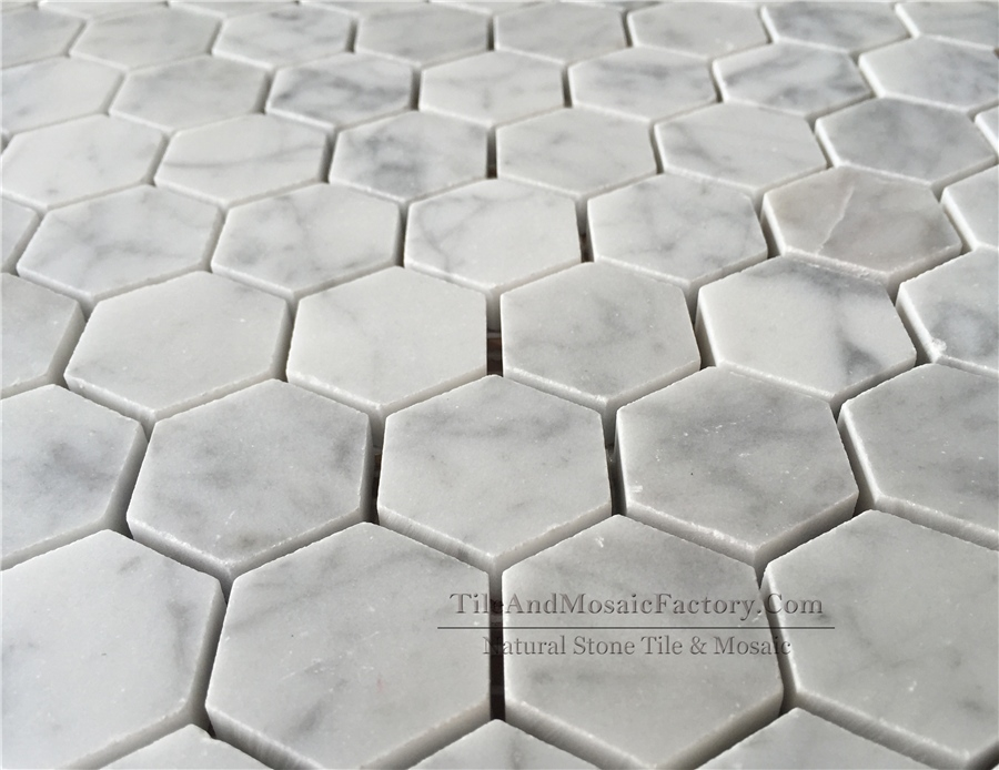 Bianco Carrara Hexagon 1 1/4″ Polished White Marble Mosaic