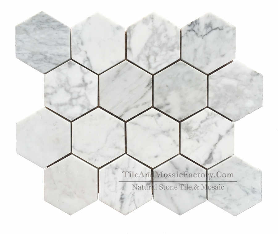 Bianco Carrara Hexagon 3″ Polished White Marble Mosaic