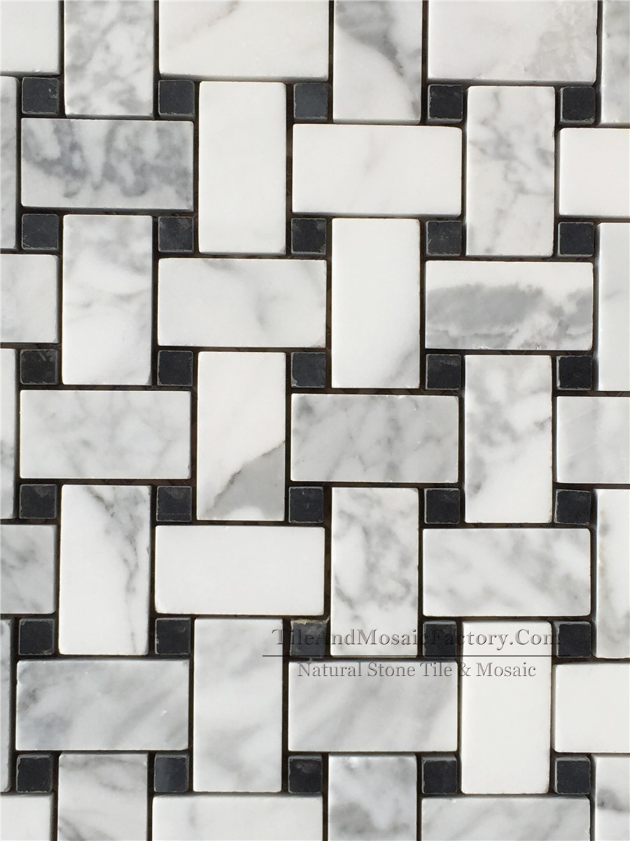 Bianco Carrara Basketweave with Black Dots Polished White Marble Mosaic