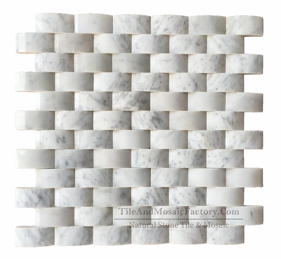 Bianco Carrara Brick 1x2″ Pillowed Polished White Marble Mosaic