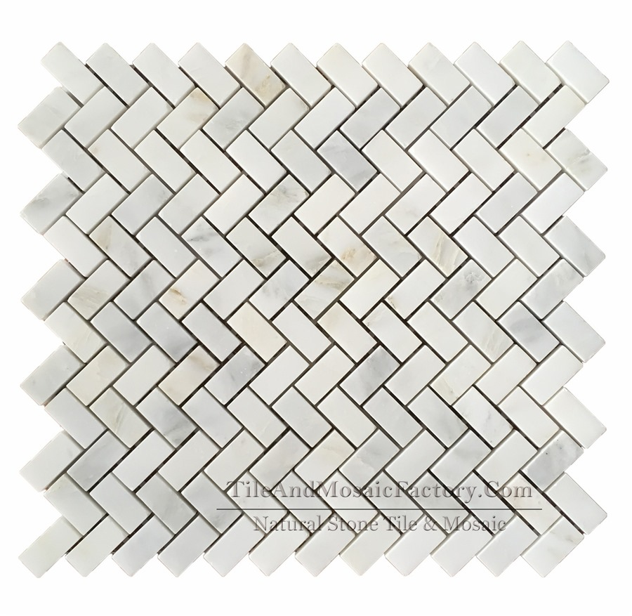 Asian White Herringbone 5/8x1″ Polished Marble Mosaic