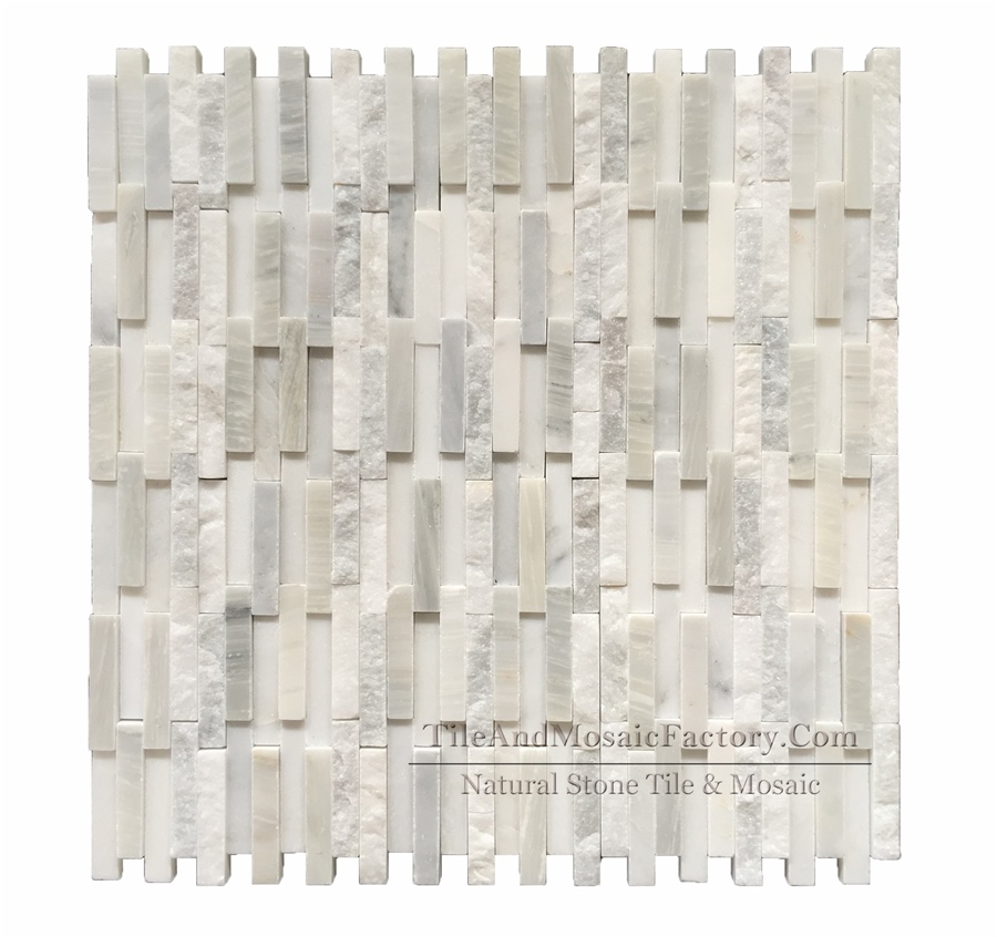 Oriental White Asian White Brick 5x1cm Honed & Natural Split White color Marble Mosaic