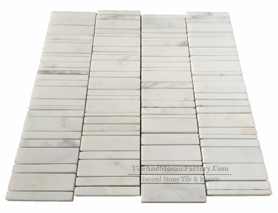 Asian White Linear Polished Marble Mosaic