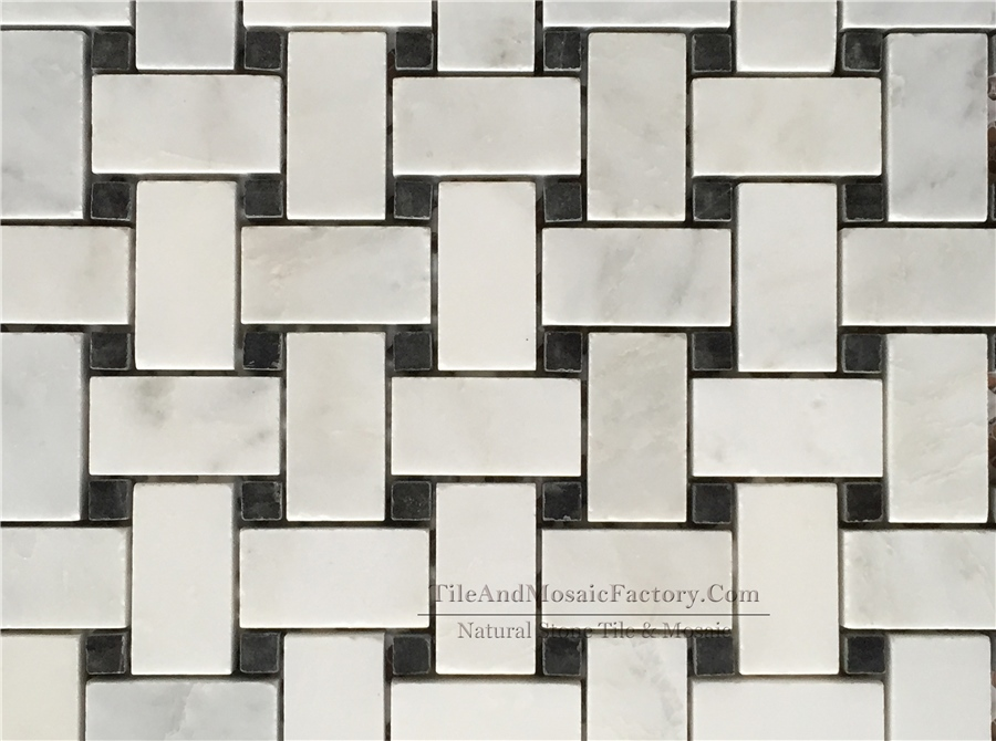Asian White Basketweave with Black Dots Polished Marble Mosaic