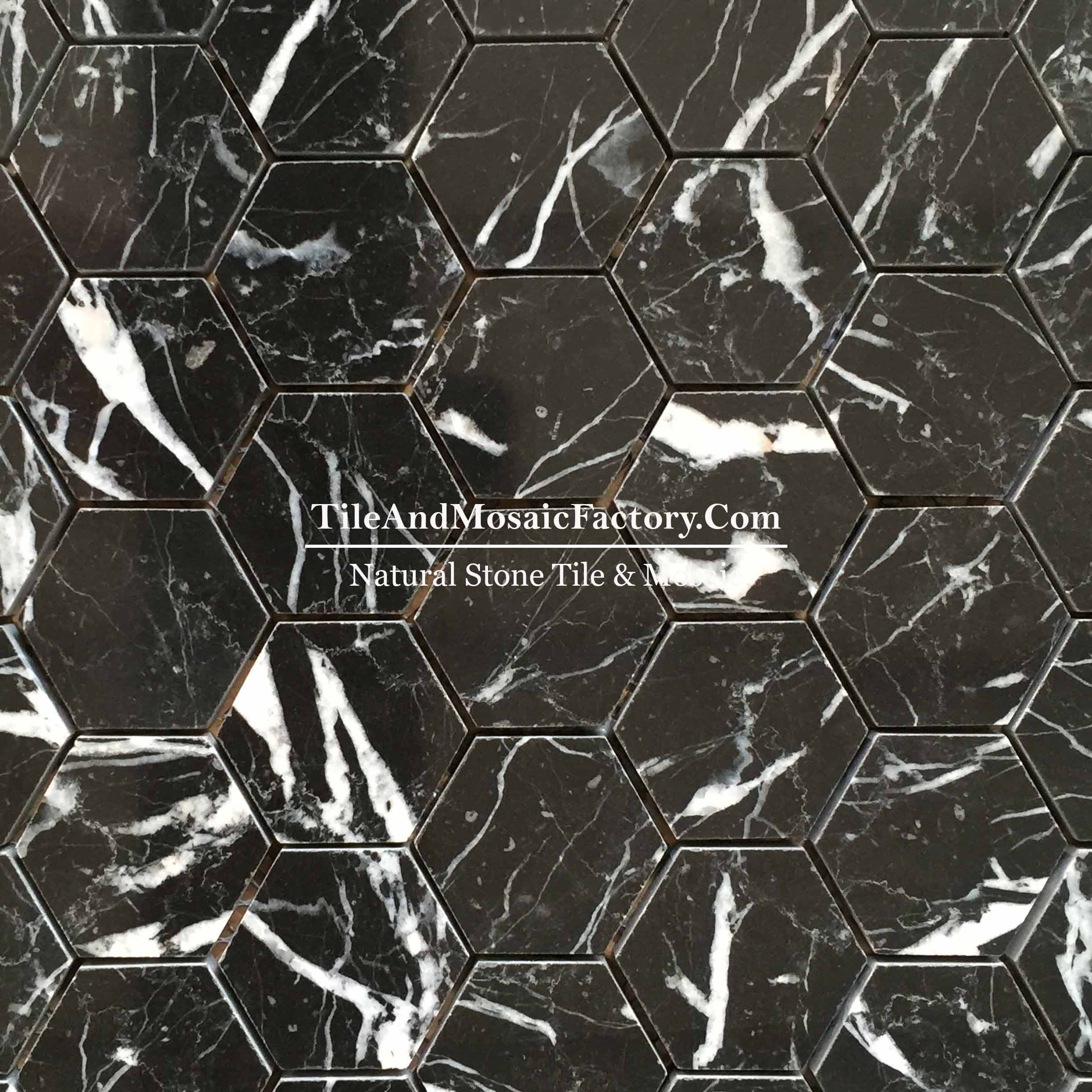 "Nero Marquina  Hexagon 2"" polished Black color Marble Mosaic"