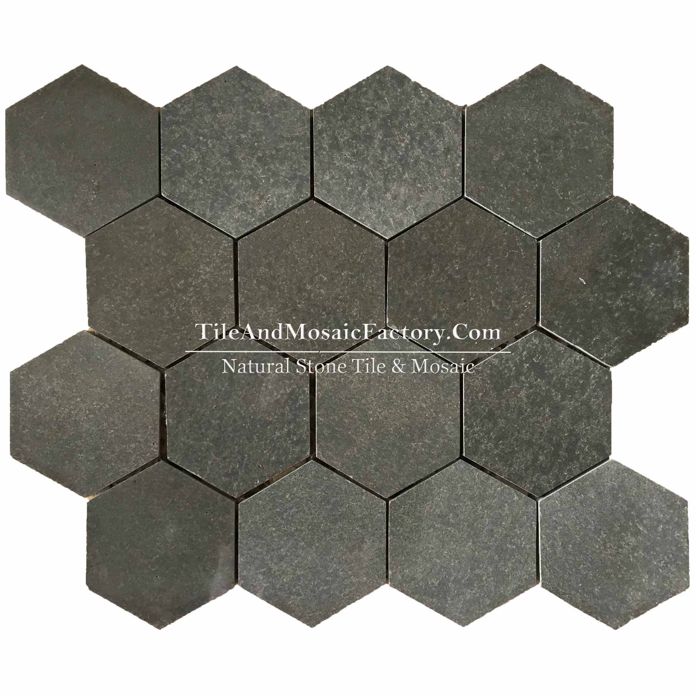 "Basalt  Hexagon 3"" polished Black color Marble Mosaic"
