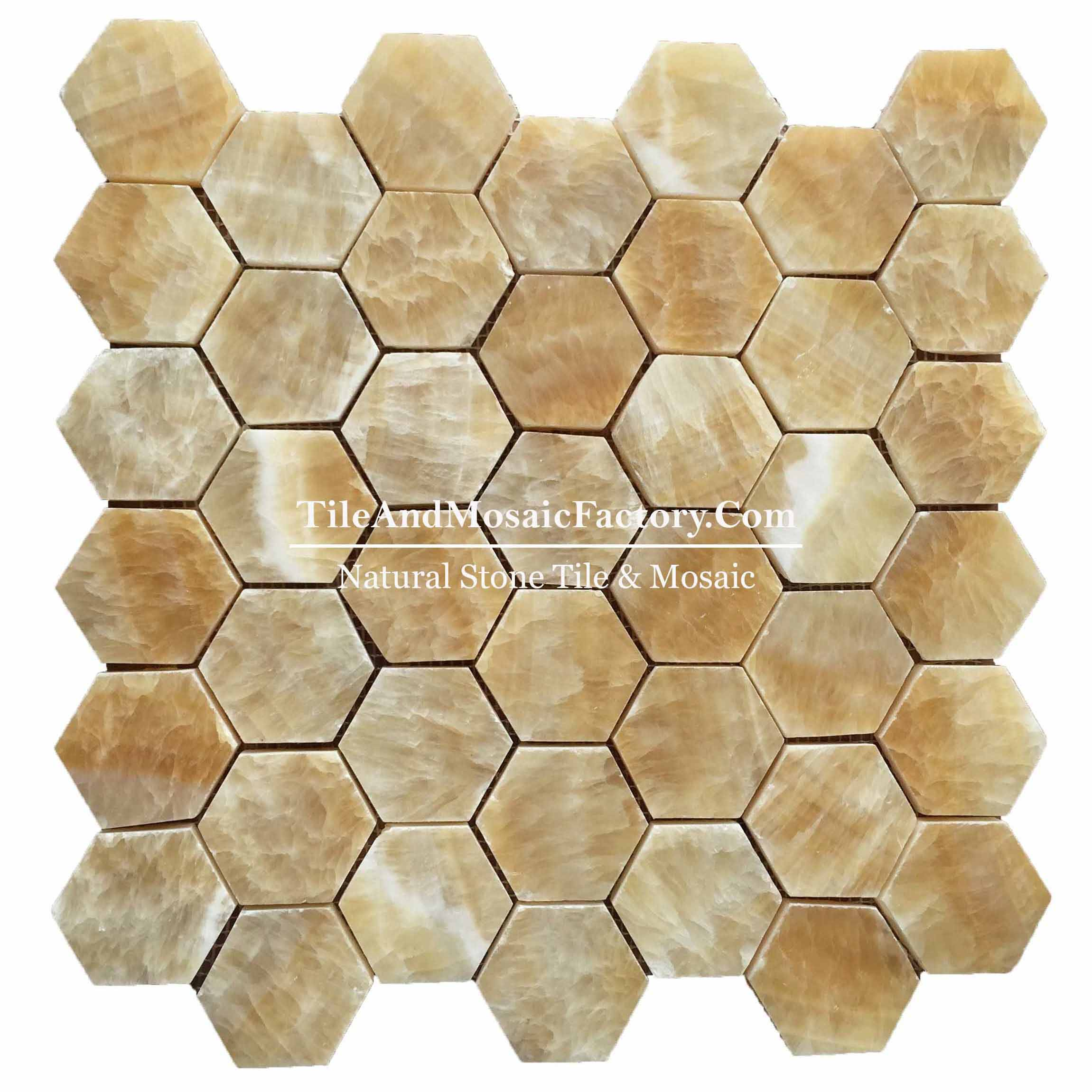 "Honey Onyx  Hexagon 2"" polished Yellow color Marble Mosaic"