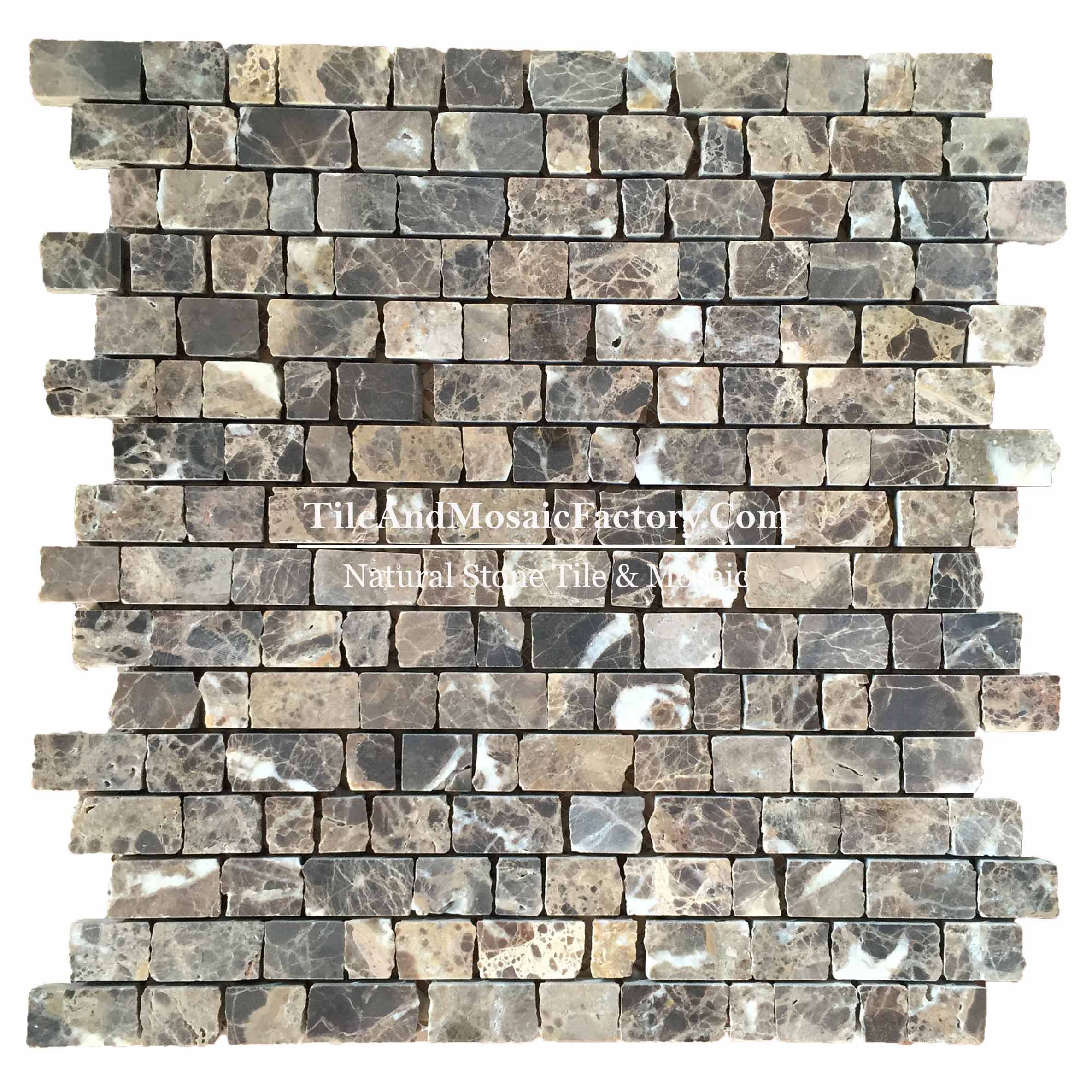 Dark Epmerador Honed broken edge Brick Brown color Marble Mosaic
