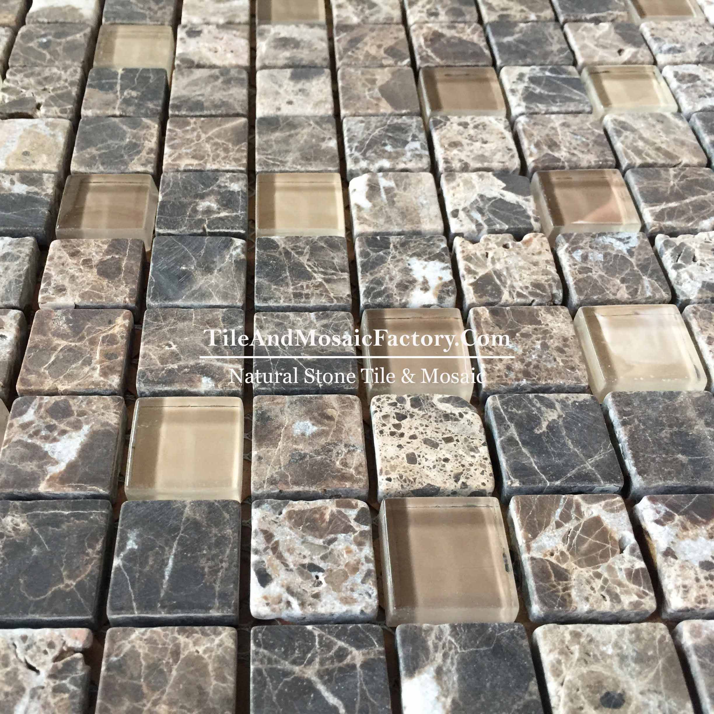 Dark Emperador   Square 1x1 Tumbled w/Glass  Brown color Marble Mosaic