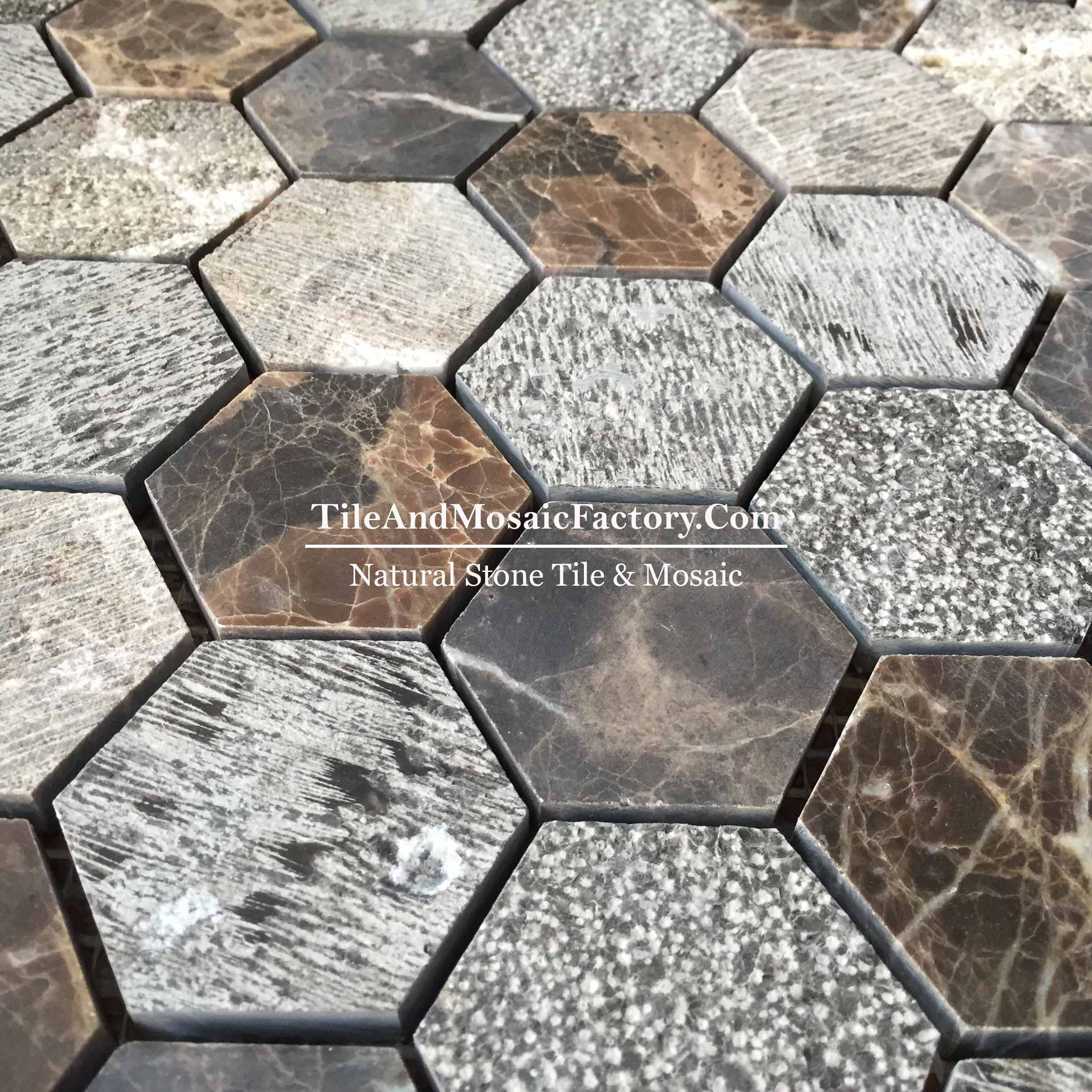 "Dark Emperador  Hexagon 2"" Multi finish Brown color Marble Mosaic"