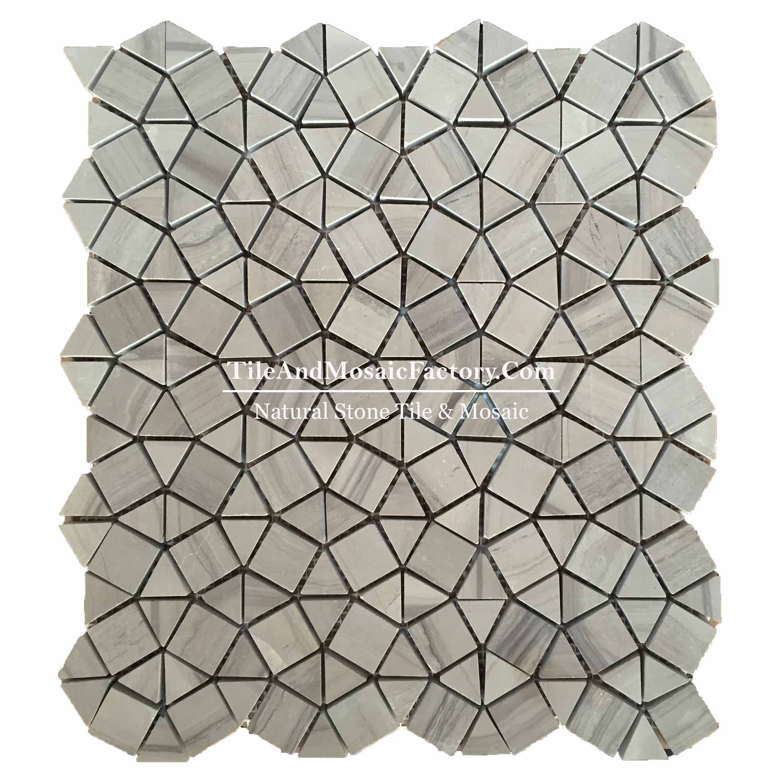 Wooden Gray Coffee  Pattern  polished Brown color Marble Mosaic