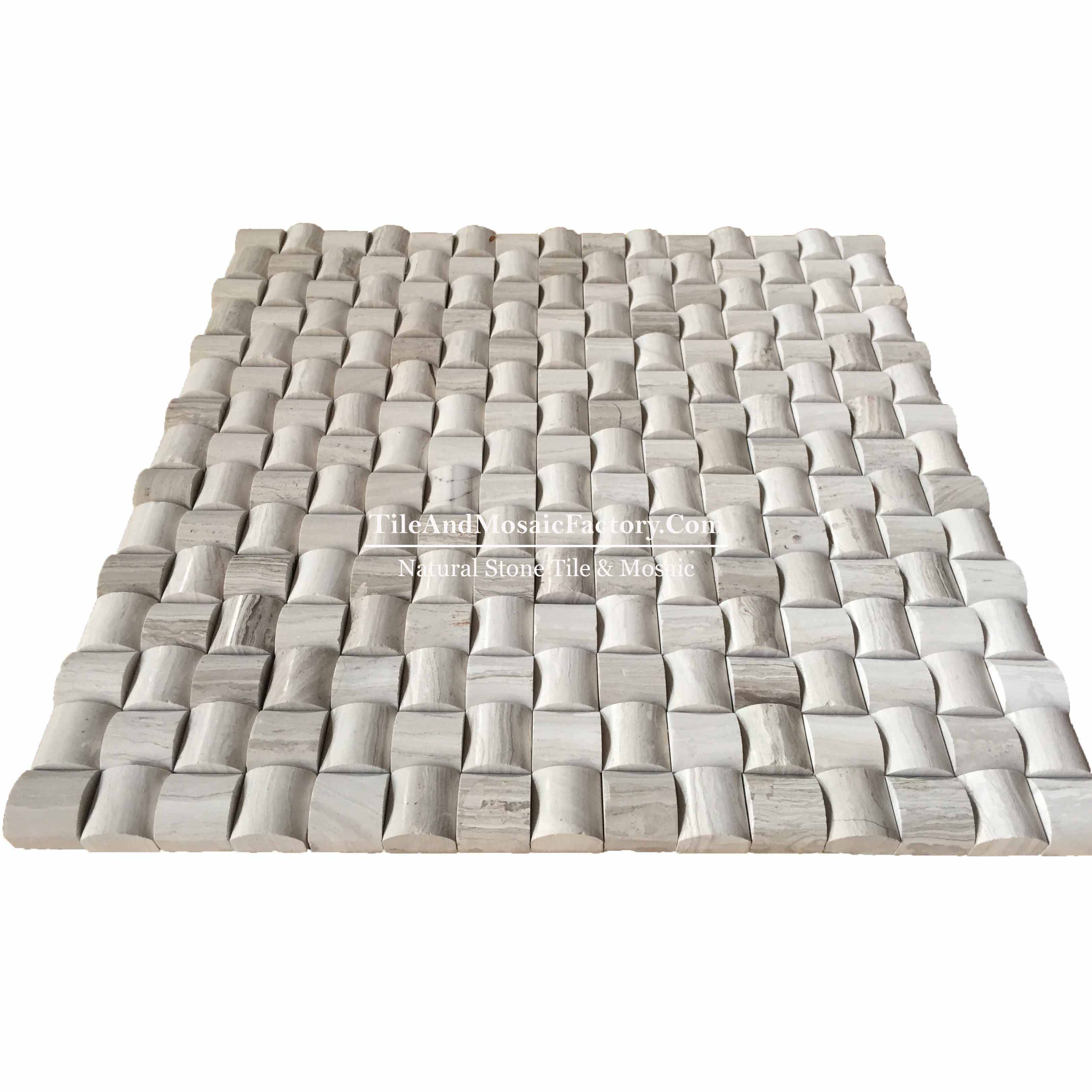 "Wooden Gray Square Pillowed 3/4x3/4"" polished Grey color Marble Mosaic"