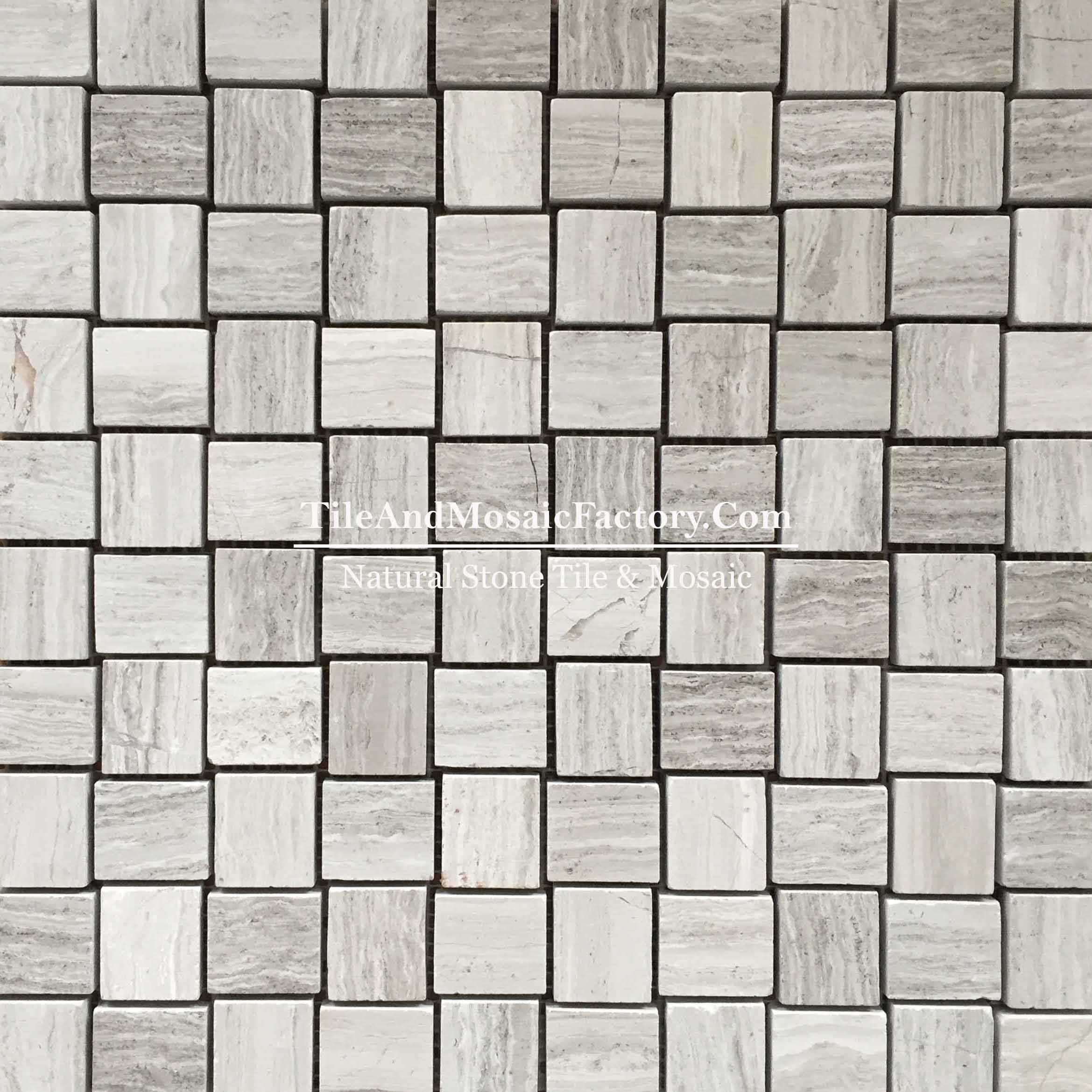 "Wooden Gray Stagger 1x1 1/4"" polished Grey color Marble Mosaic"