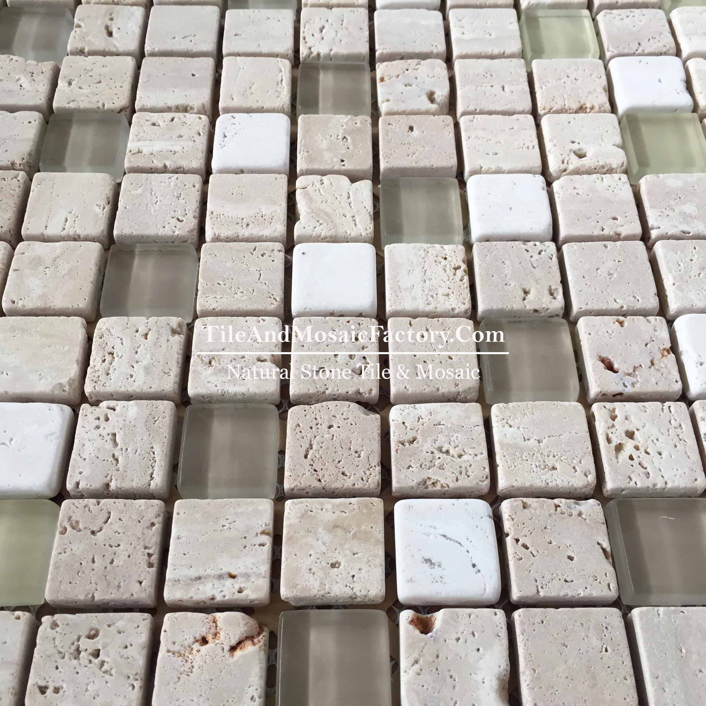 Light Travertine   Square 1x1 Tumbled w/Glass  Beige color Marble Mosaic