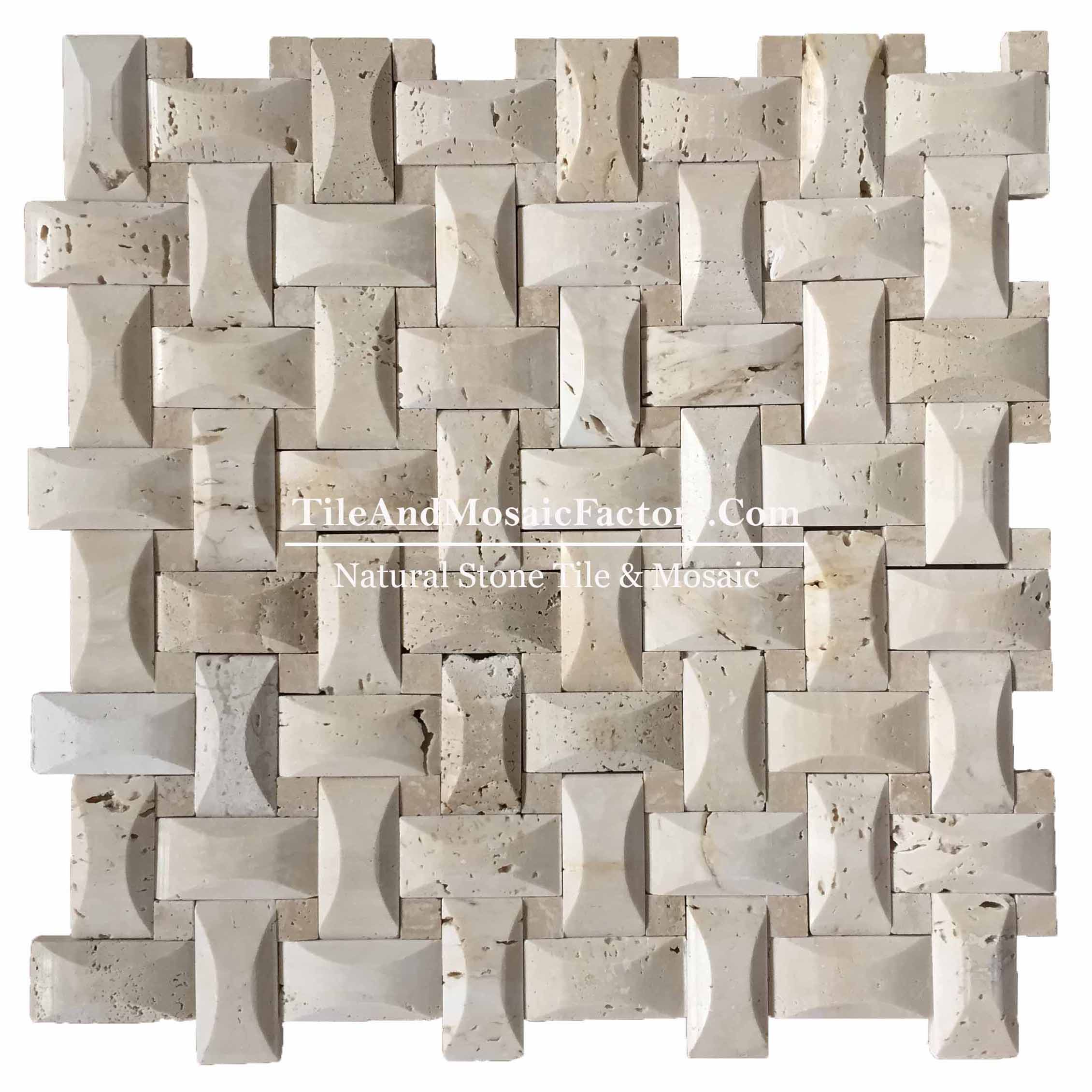 Light Travertine  Basketweave Pillowed  polished Beige color Marble Mosaic