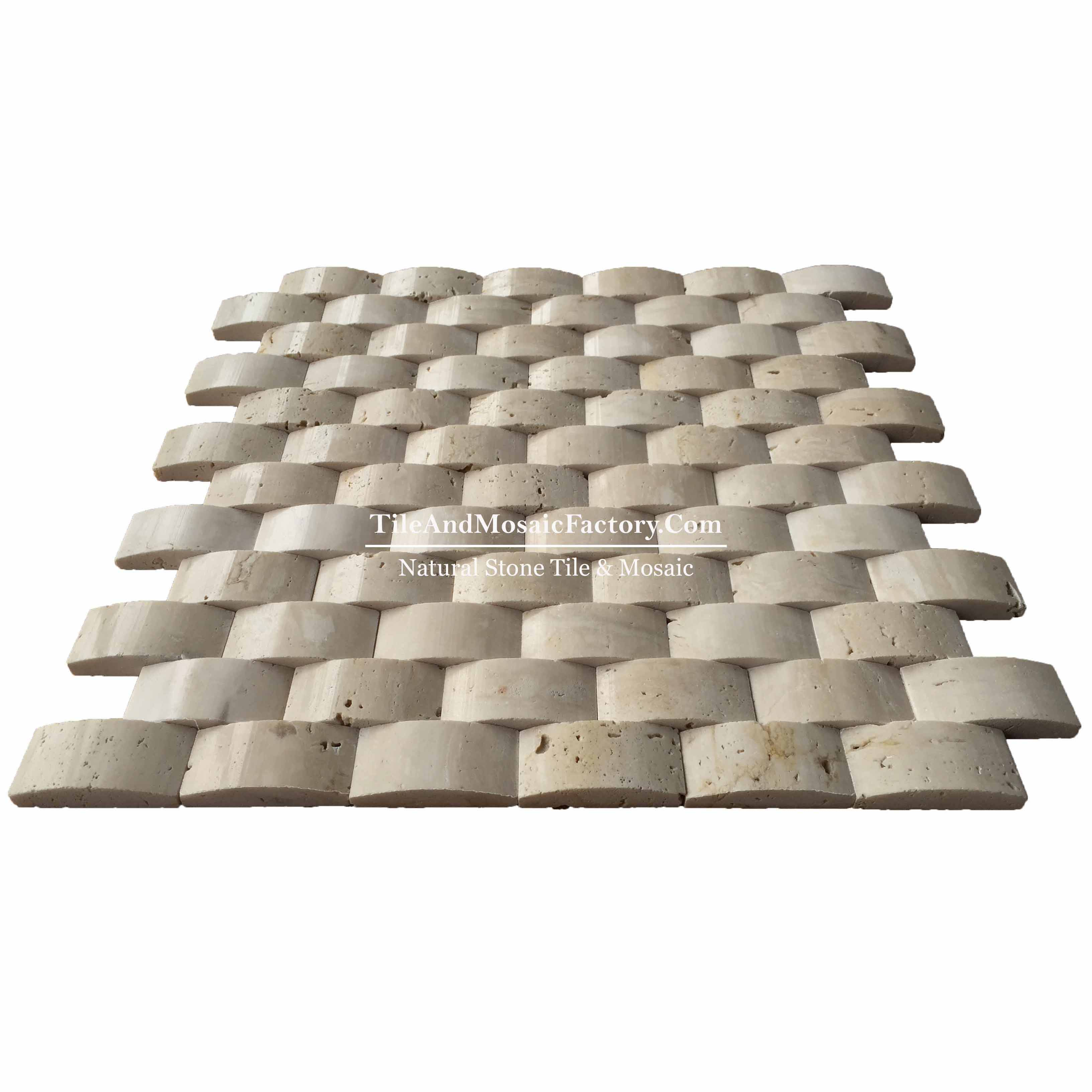 Light Travertine  Brick  1x2 Pillowed polished Beige color Marble Mosaic