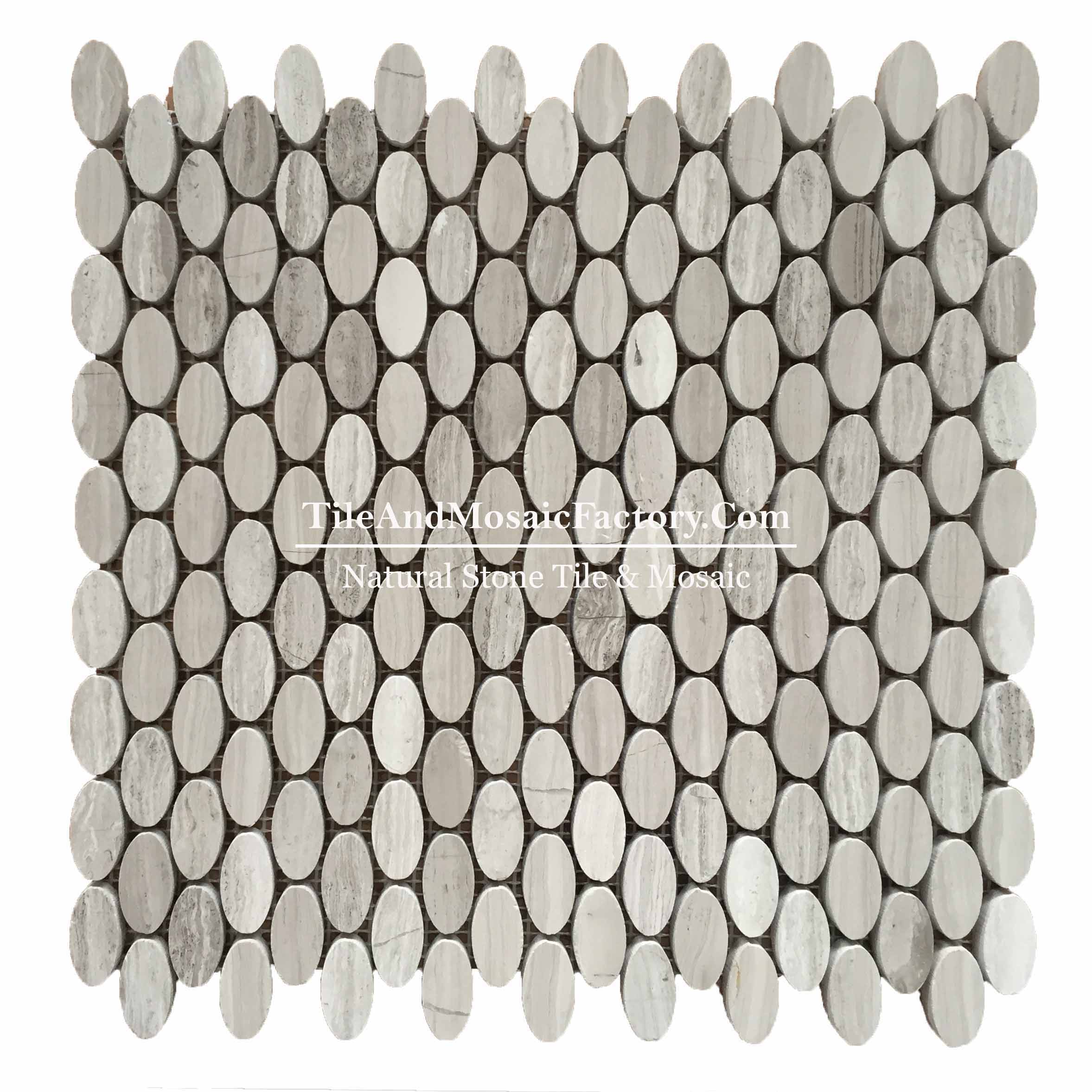 Wooden Gray Oval 5/8x1 polished Grey color Marble Mosaic