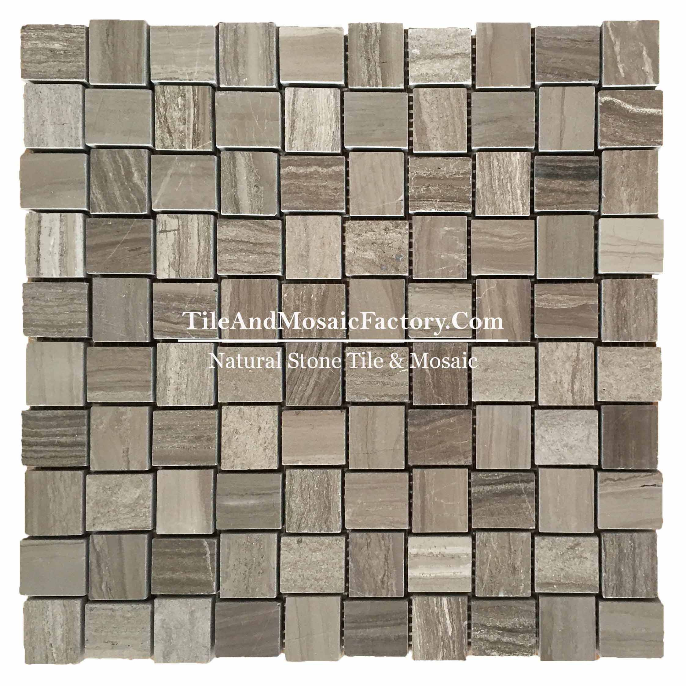 "Wooden Gray Coffee Stagger 1x1 1/4"" polished Brown color Marble Mosaic"