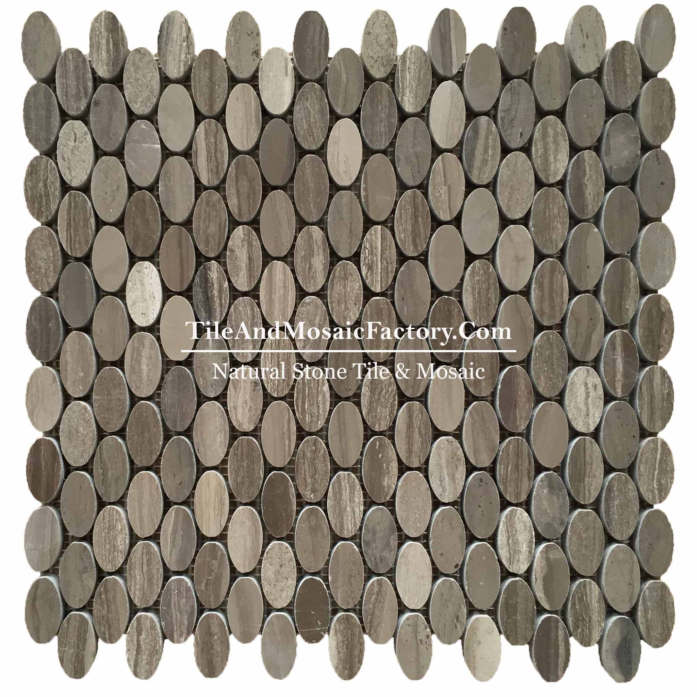 "Wooden Gray Coffee Oval 5/8 x 1"" polished Brown color Marble Mosaic"