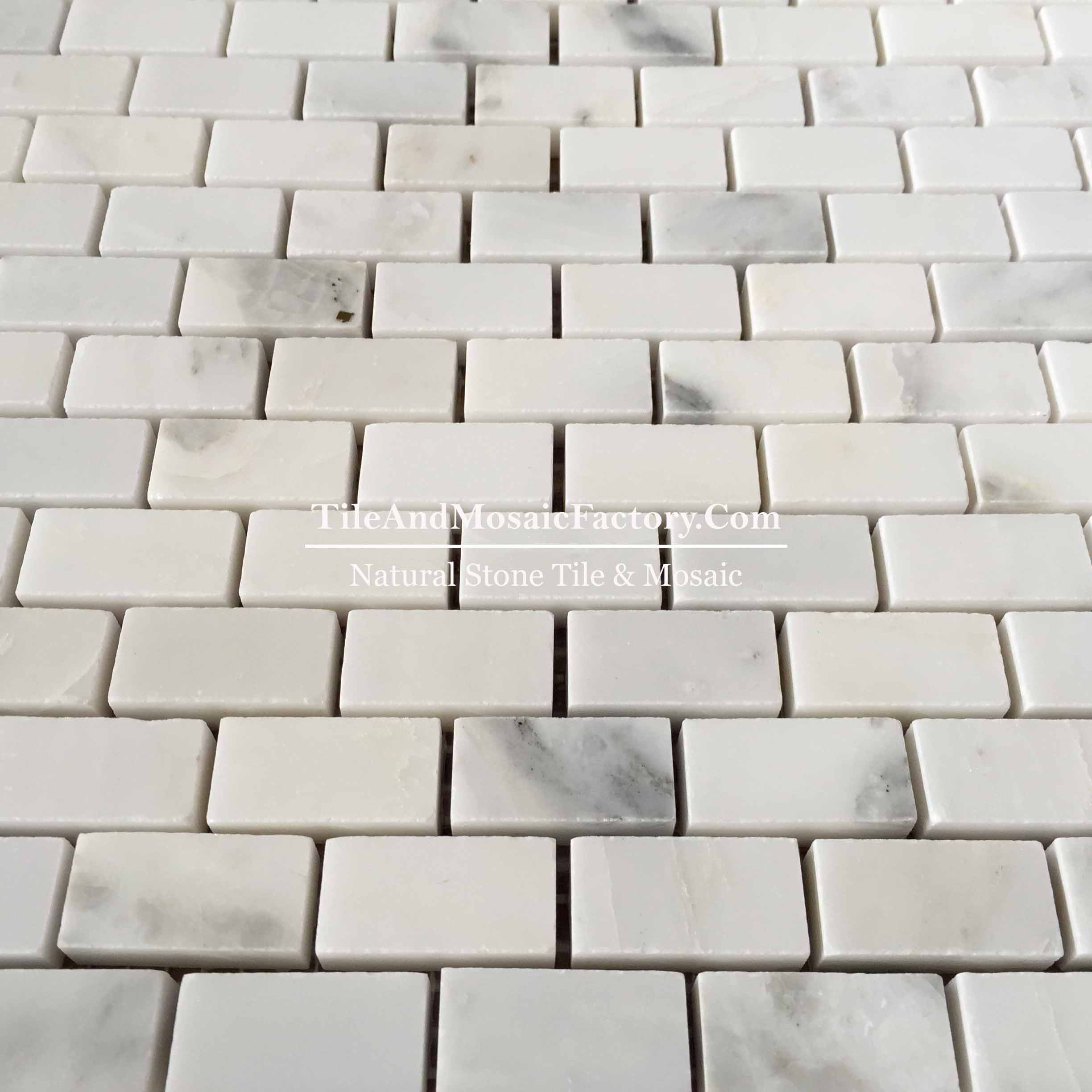 "Asian White  Brick 5/8x1""  polished White color Marble Mosaic"
