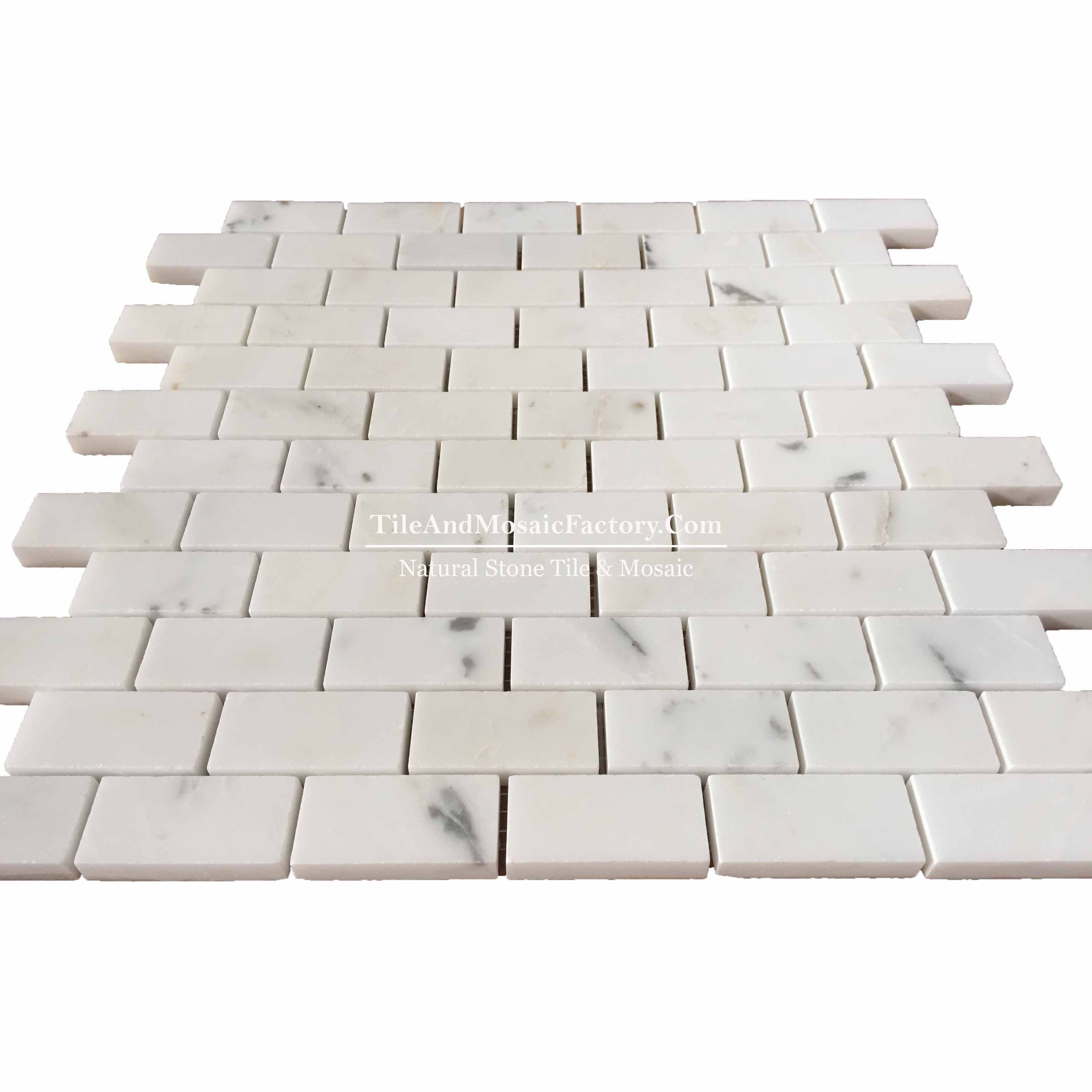 Asian White  Brick 1x2 Polished White Color Marble Mosaic