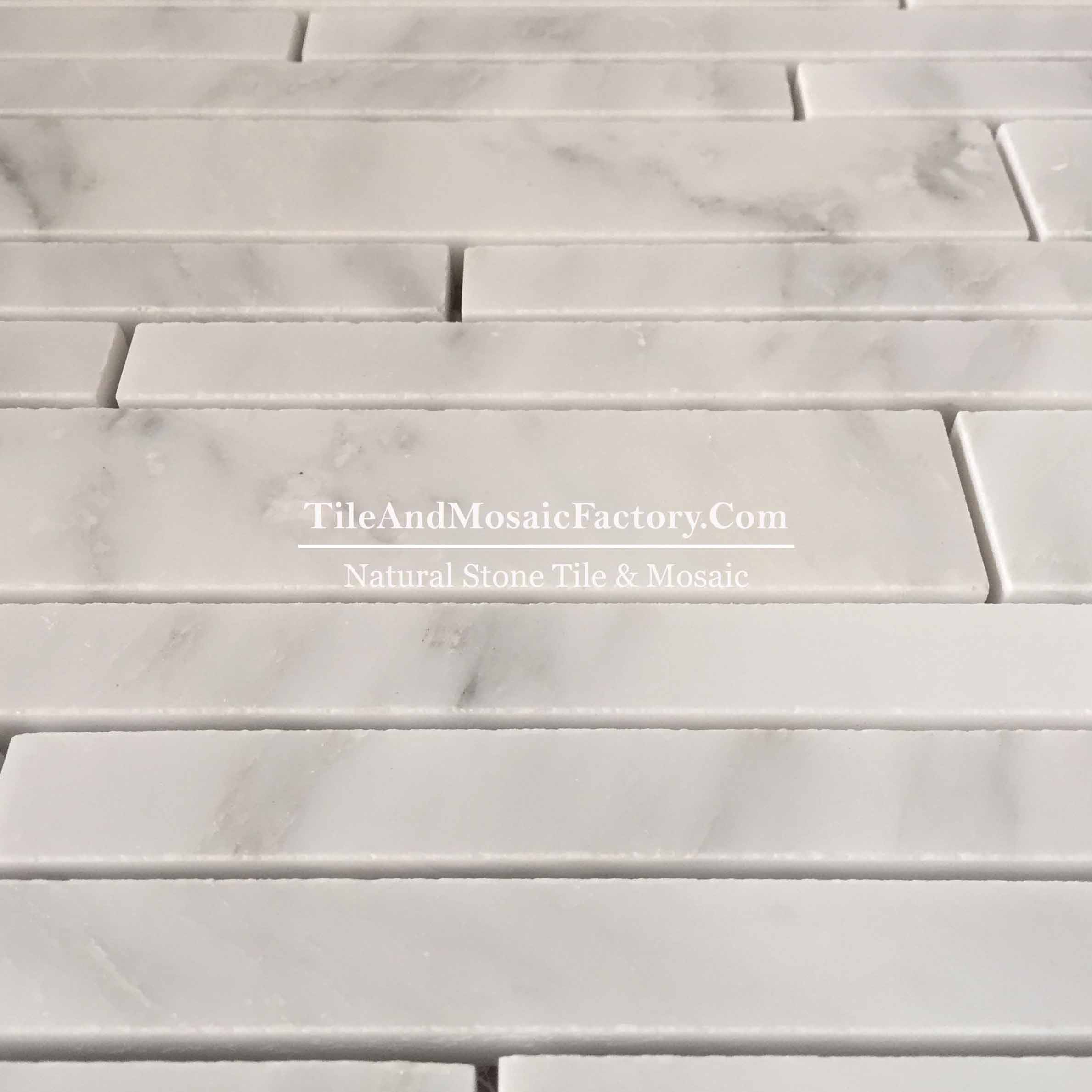 Asian White  Linear 20cm polished White color Marble Mosaic