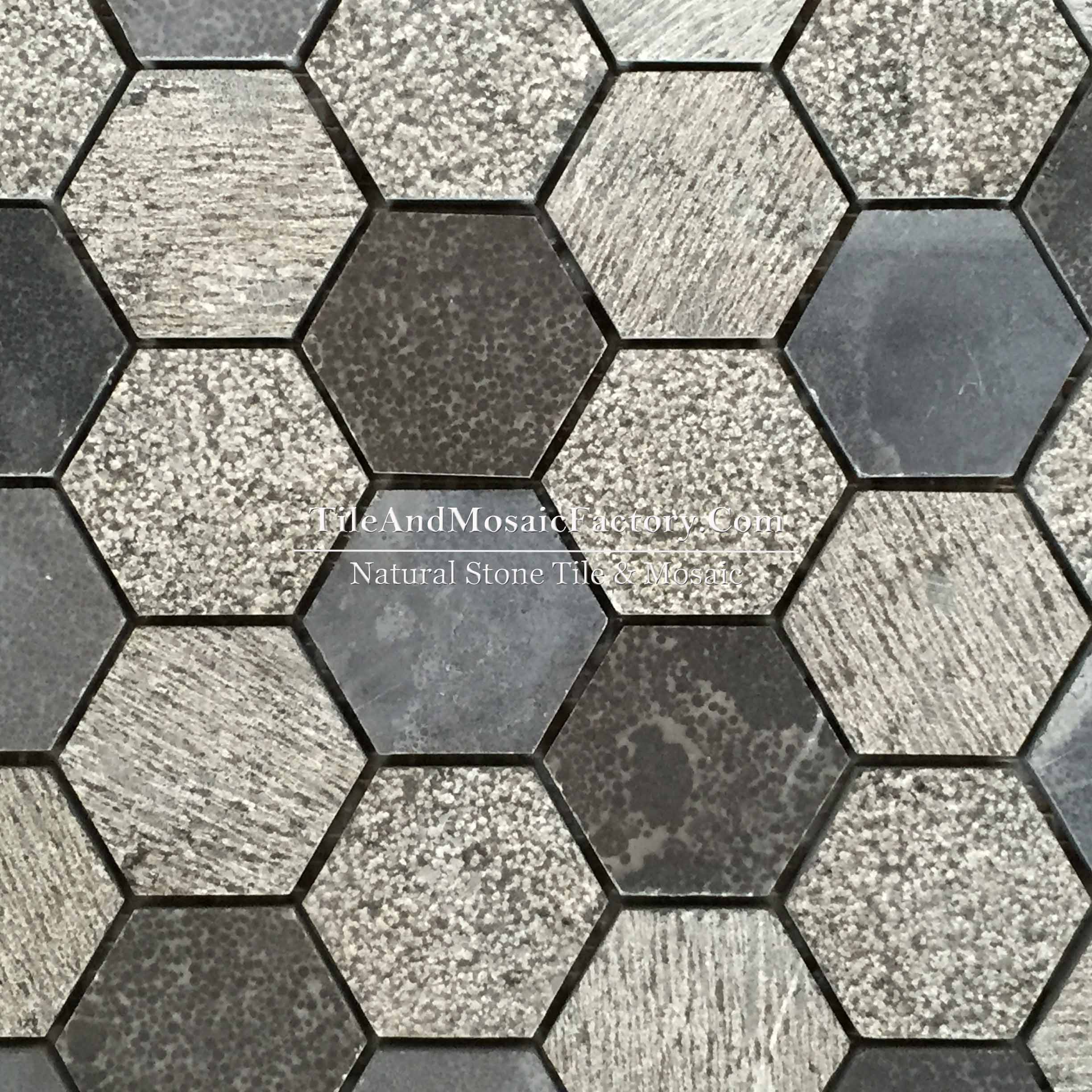 "Chinese Bluestone Hexagon 2x2"" Multi finish Blue color Limestone Mosaic"