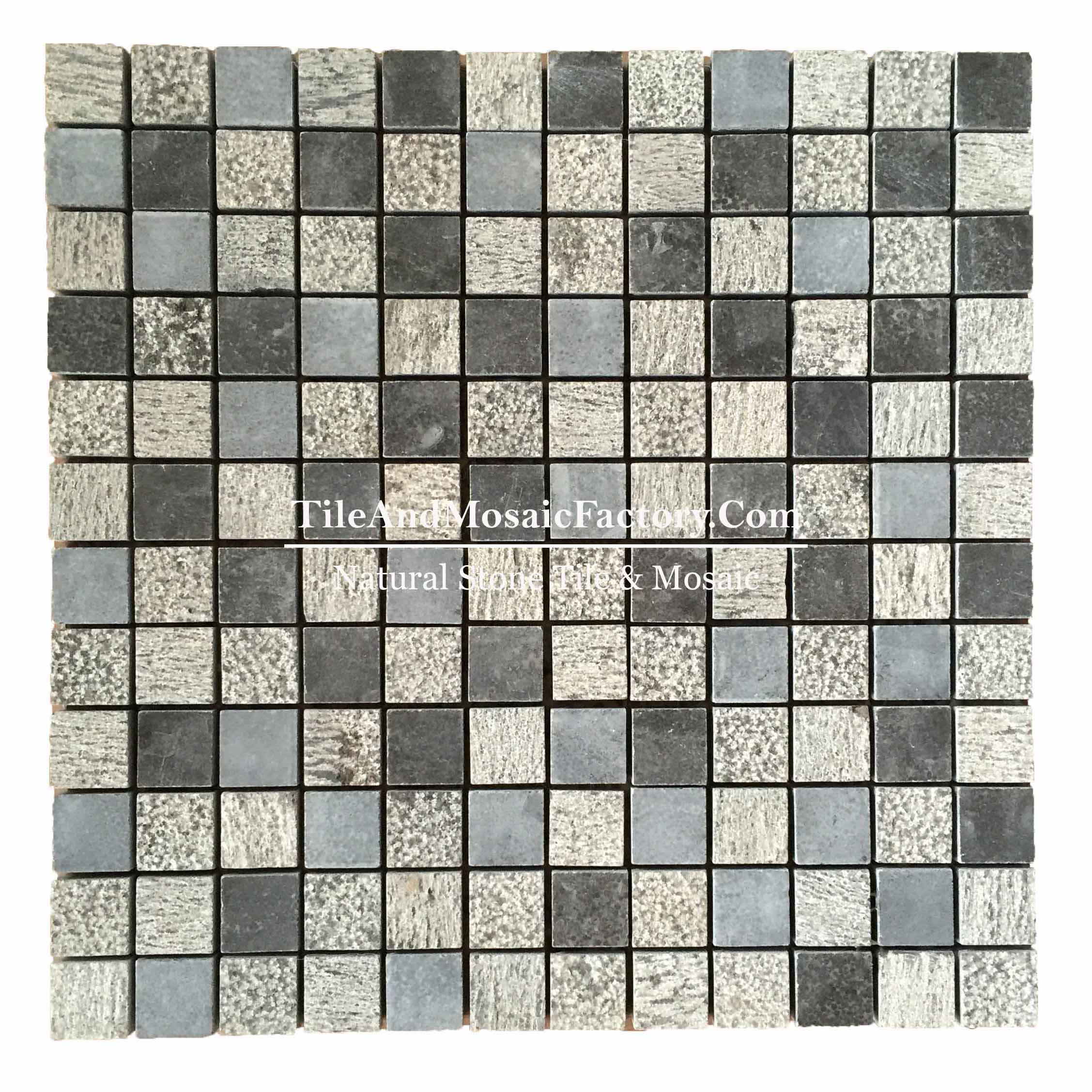 "Chinese Bluestone  Square 1x1"" Multi finish Blue color Limestone Mosaic"