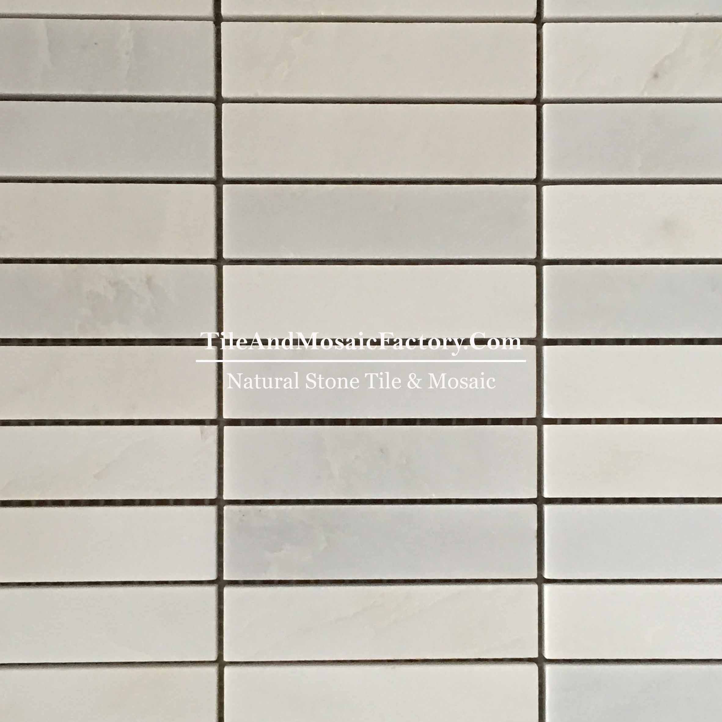 "Asian White  Soldier Pattern 1x4"" polished White color Marble Mosaic"