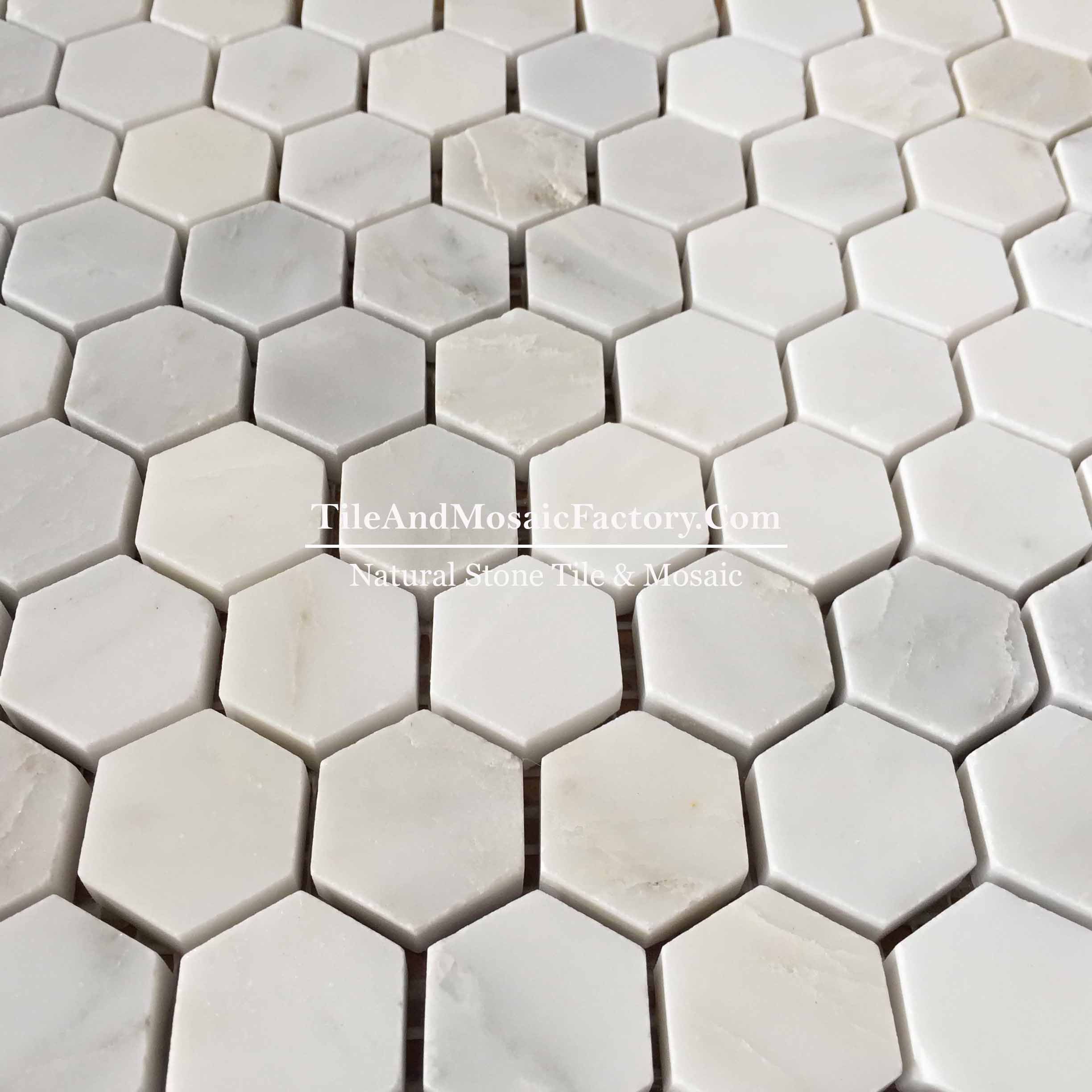 "Asian White Hexagon 1"" polished White color Marble Mosaic"