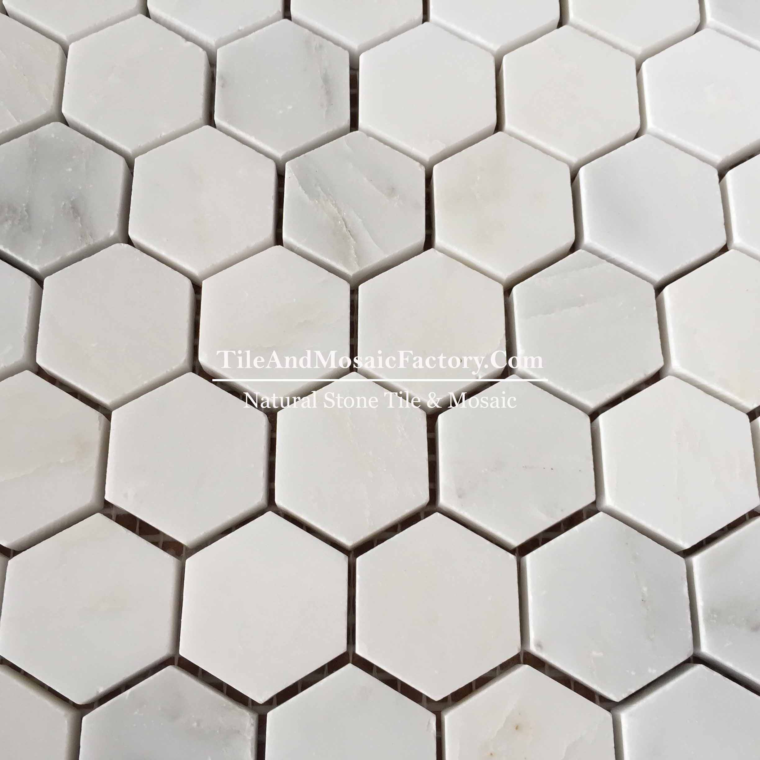 "Asian White  Hexagon 1 1/4"" polished White color Marble Mosaic"