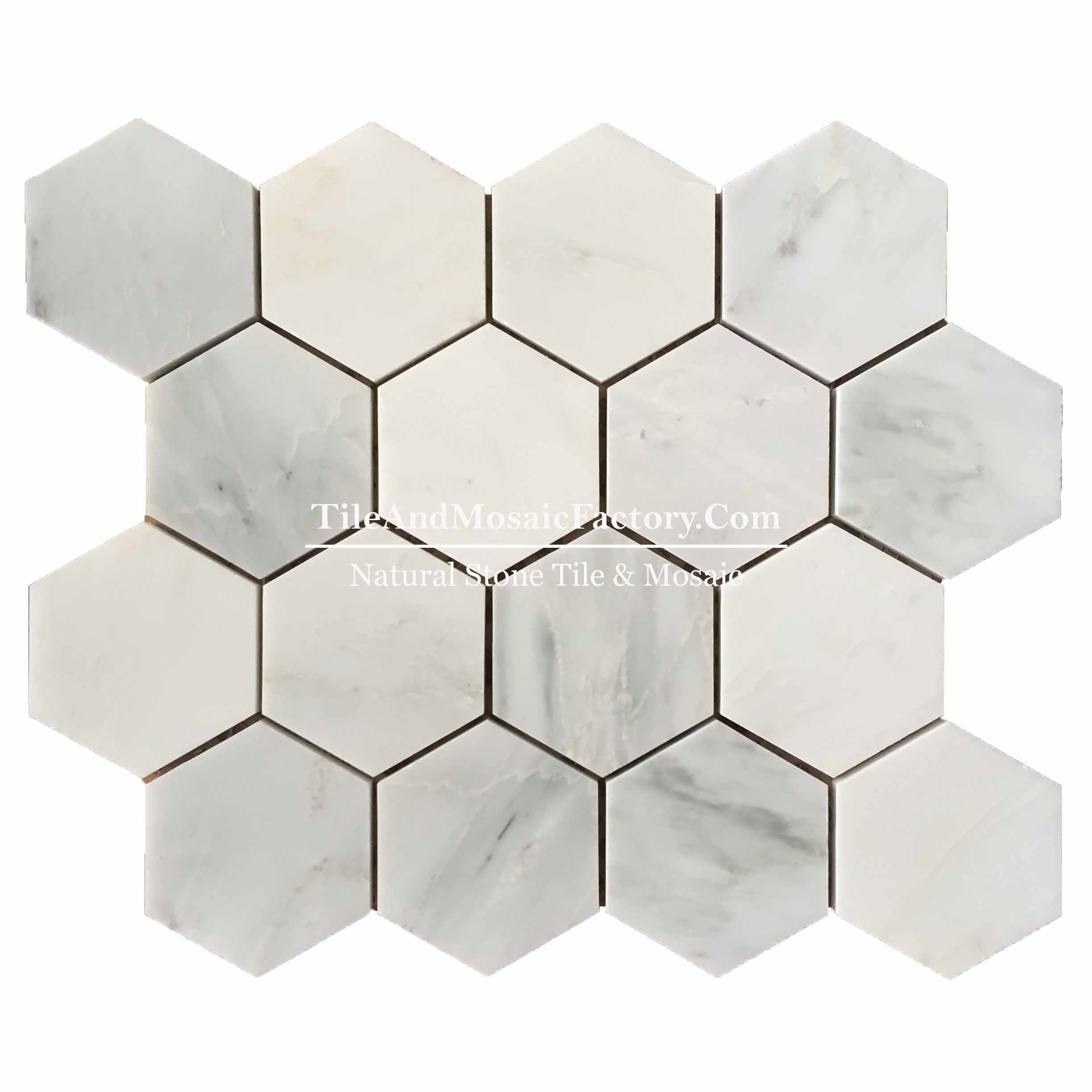 "Asian White  Hexagon 3"" polished White color Marble Mosaic"