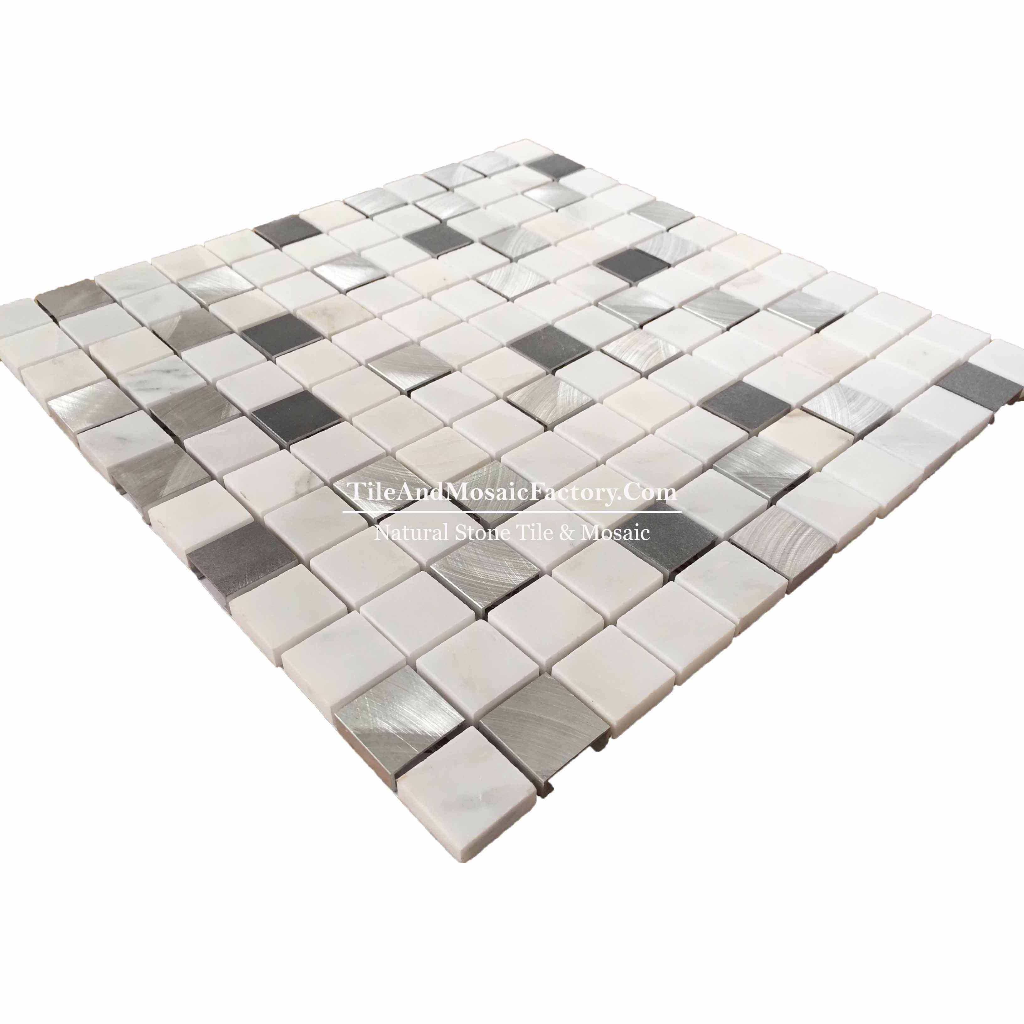 "Asian White & Stainless Steel Square 1x1""  polished White color Marble Mosaic"