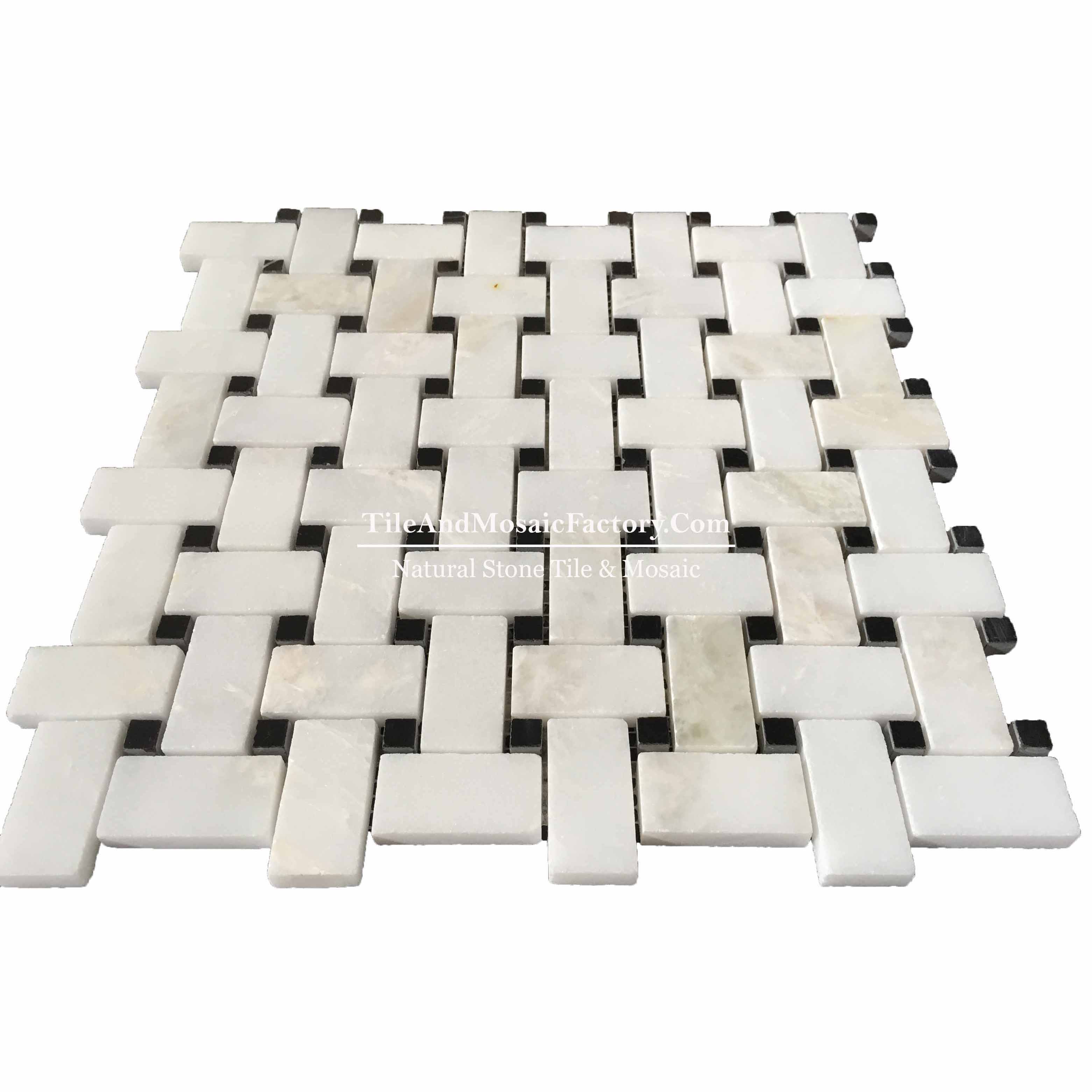 Rhino White Basketweave w/Black Dots polished White color Marble Mosaic