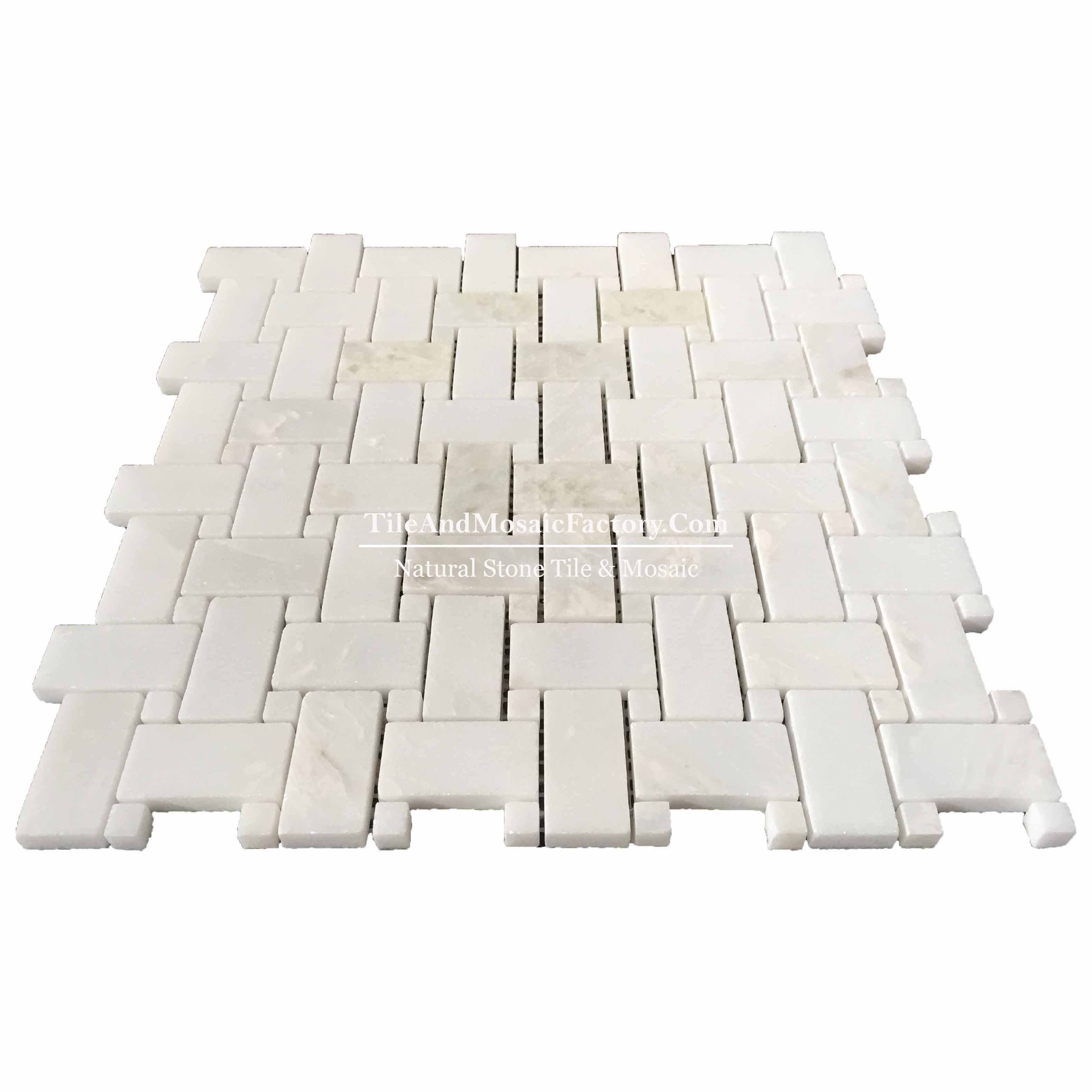 Rhino White Basketweave polished White color Marble Mosaic
