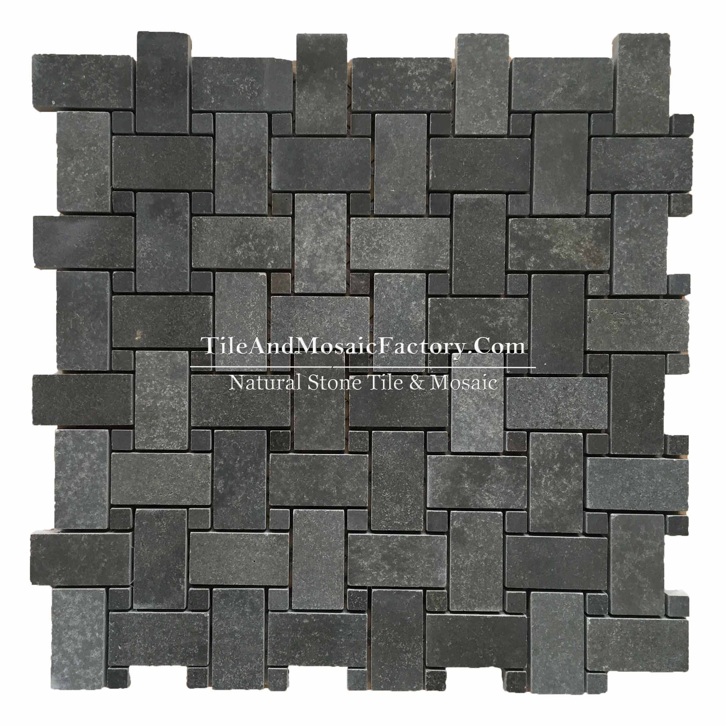 Basalt  Basketweave  polished Black color Marble Mosaic