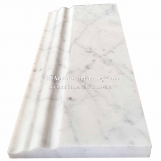 Bianco Carrara C  Base Board 5x12 polished White color Marble Border