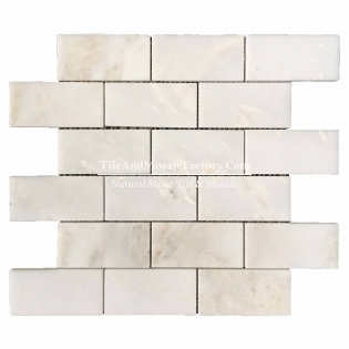 "Rhino White Brick 2x4"" polished White color Marble Mosaic"