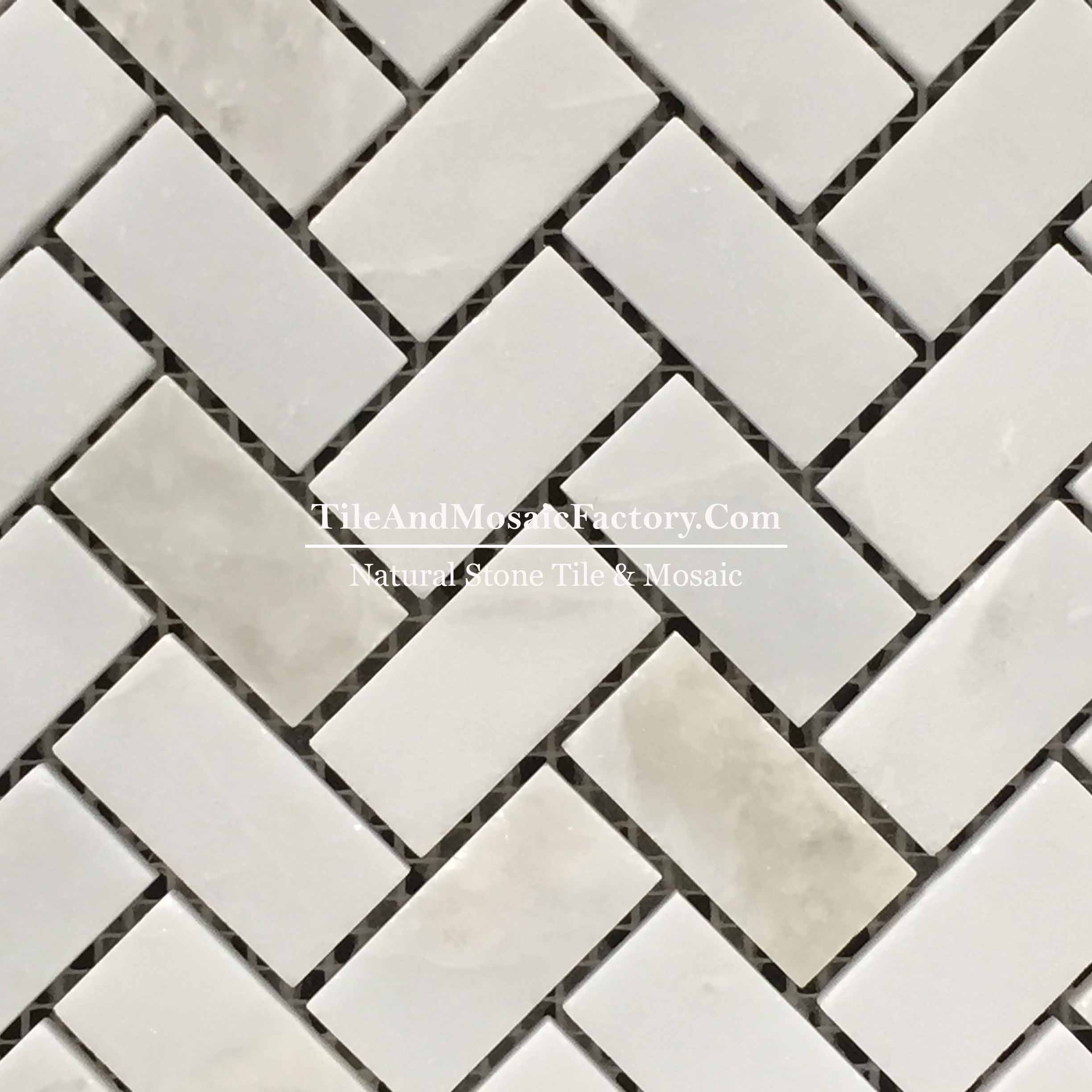 "Rhino White Herringbone 1x2"" polished White color Marble Mosaic"