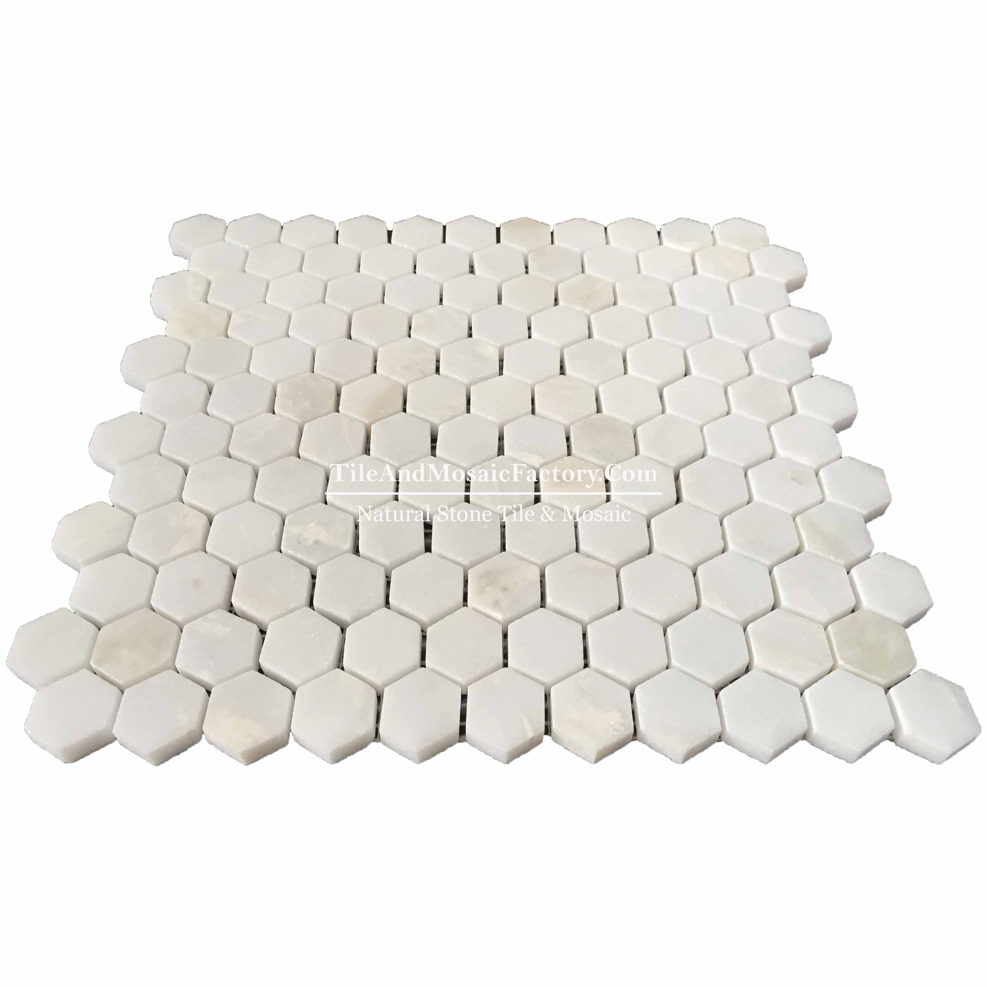 "Rhino White Hexagon 1"" polished White color Marble Mosaic"