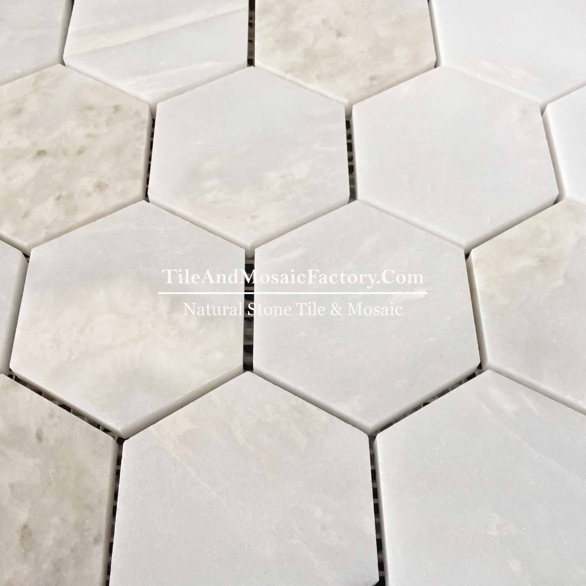 "Rhino White Hexagon 3"" polished White color Marble Mosaic"