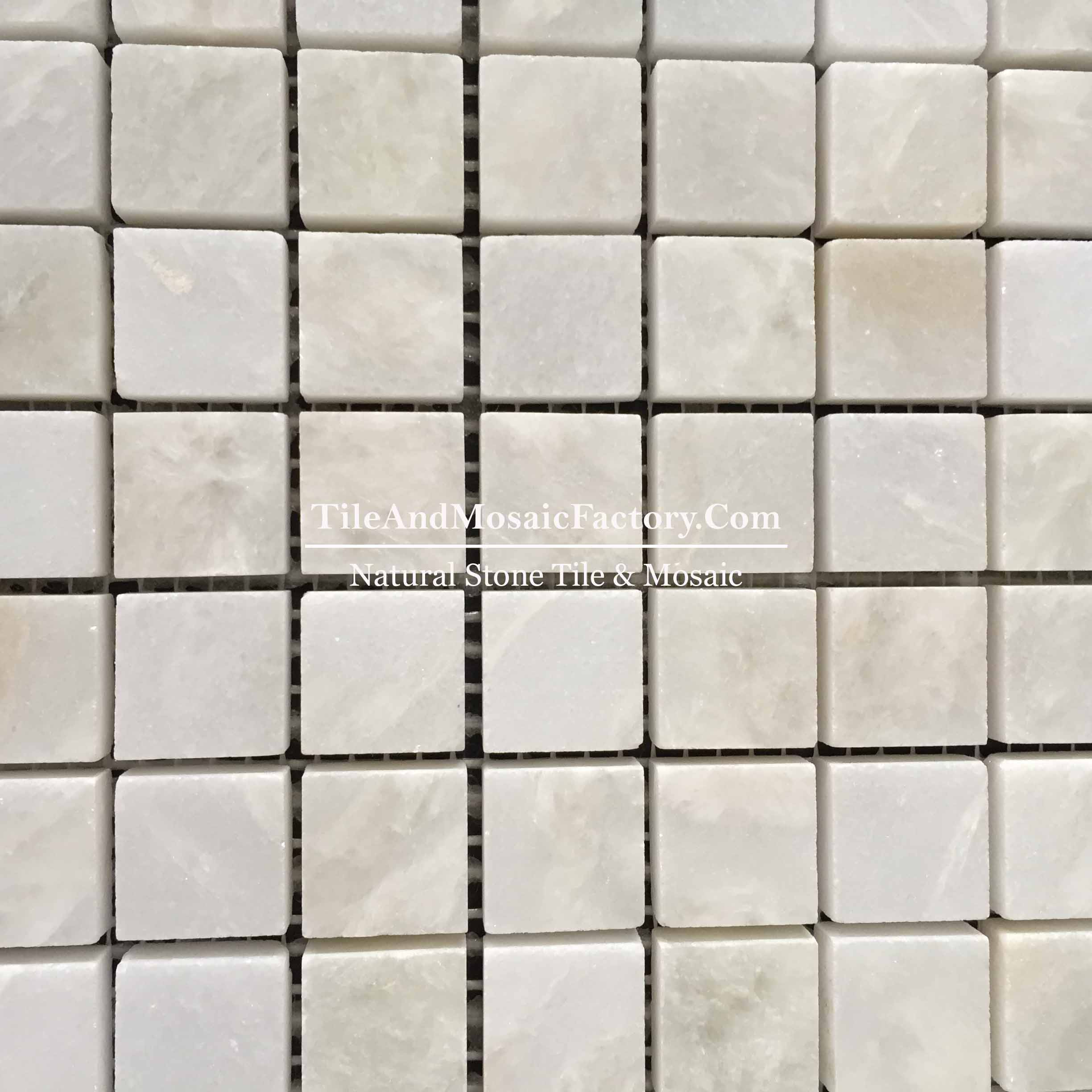 "Rhino White Square 1x1"" polished White color Marble Mosaic"