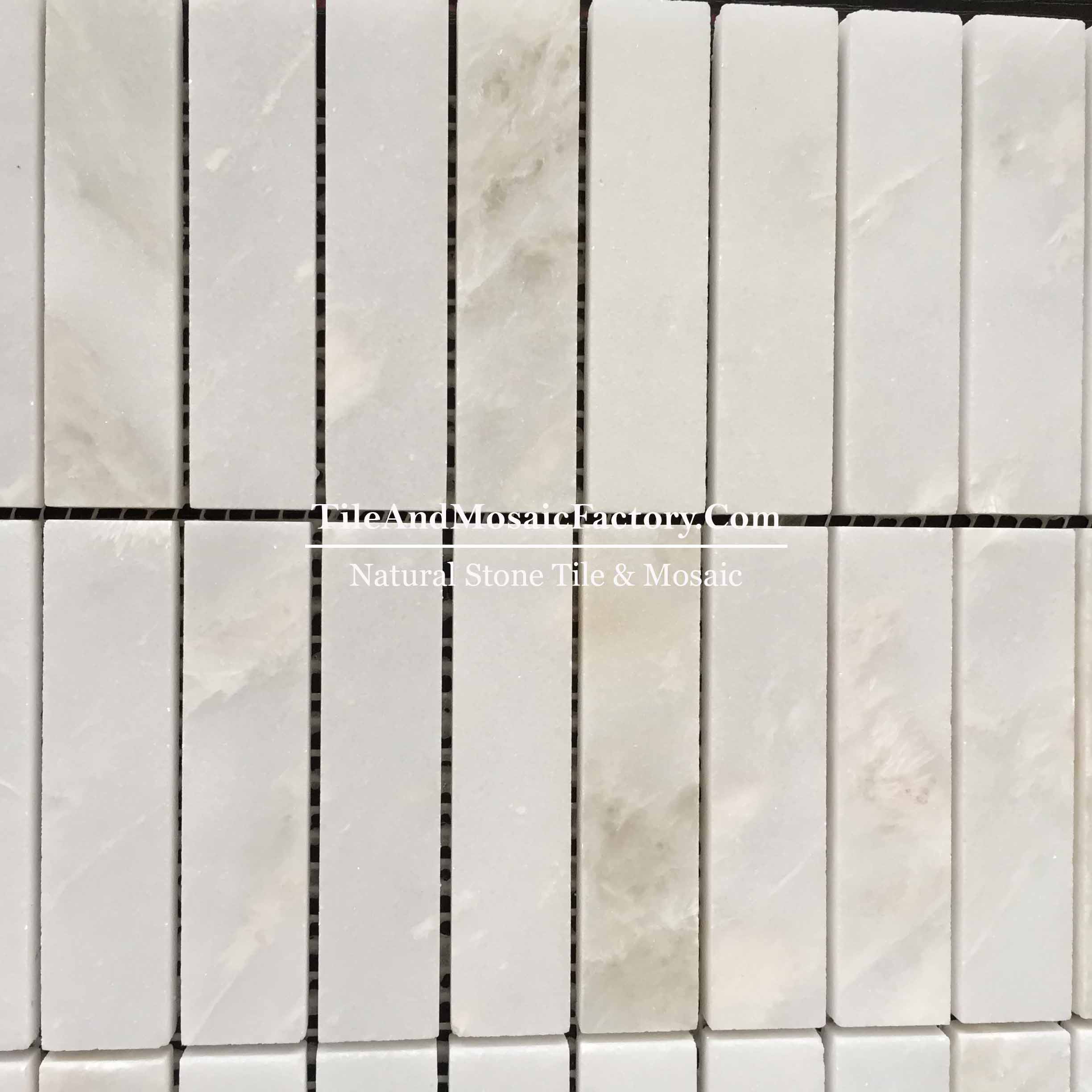 "Rhino White Soldier Pattern 1x4"" polished White color Marble Mosaic"