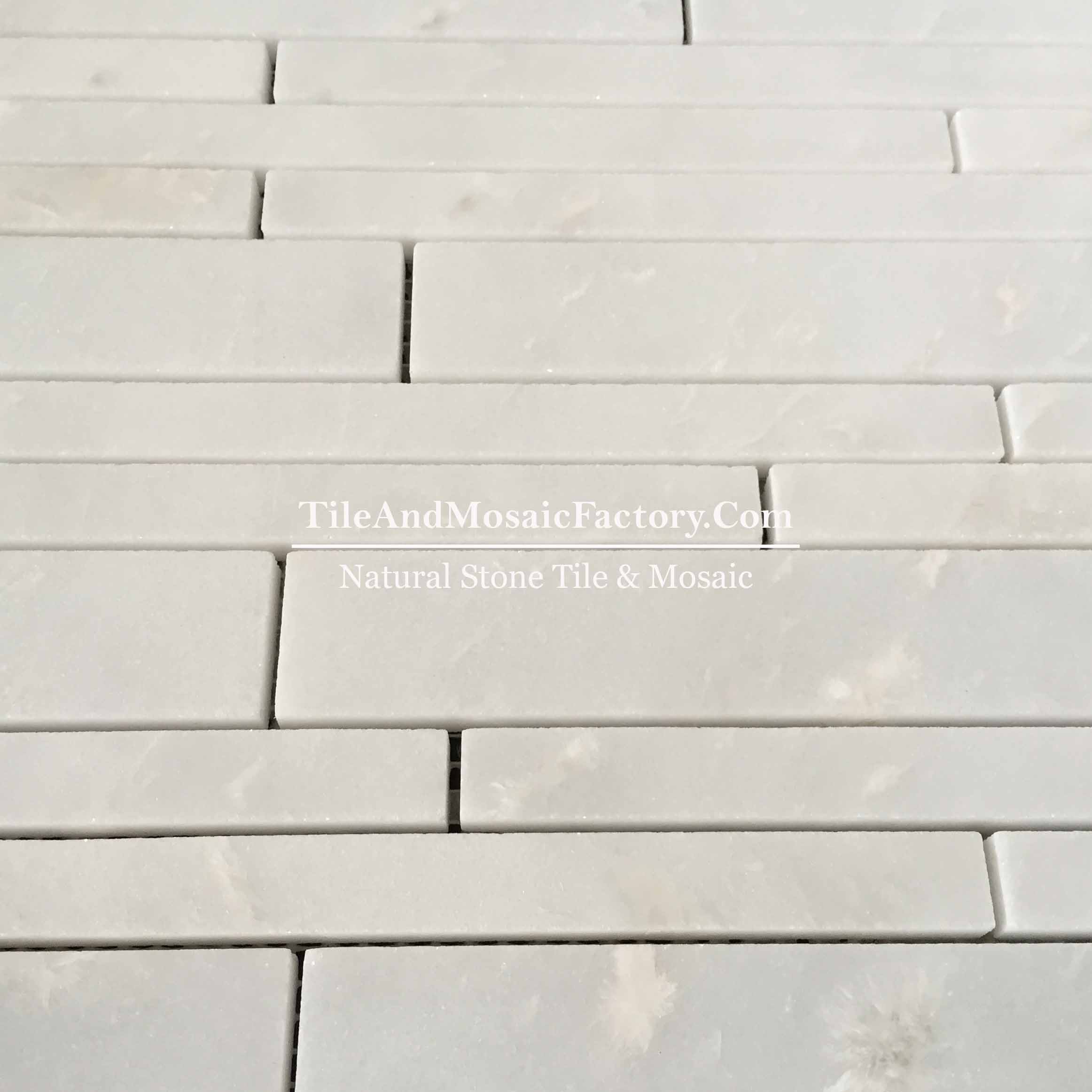 Rhino White Linear 20cm polished White color Marble Mosaic